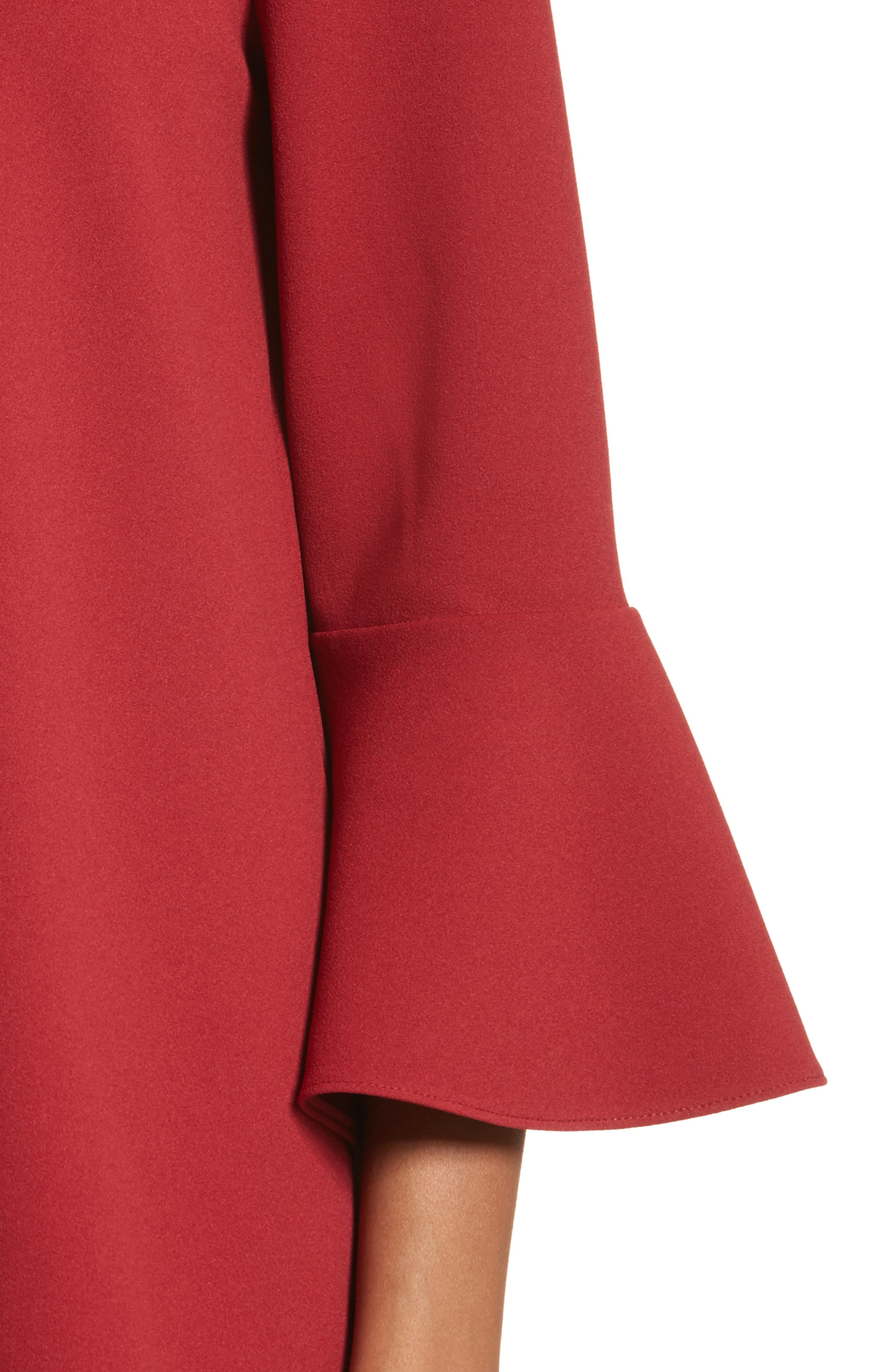 Ruffle Sleeve Stretch Crepe Top,                             Alternate thumbnail 4, color,                             Burt Red
