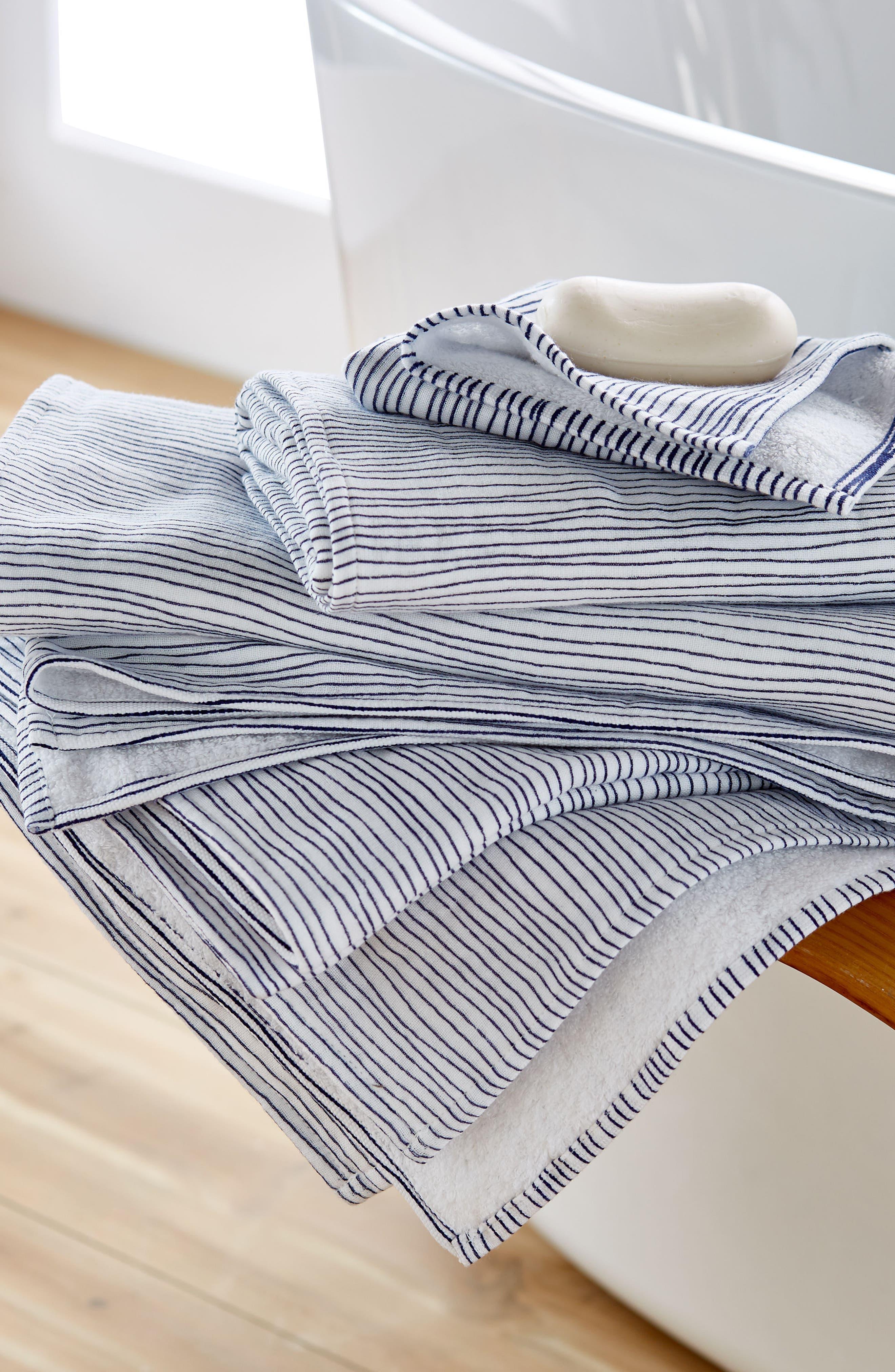 Zero Twist Stripe Washcloth,                             Alternate thumbnail 2, color,                             Ivory