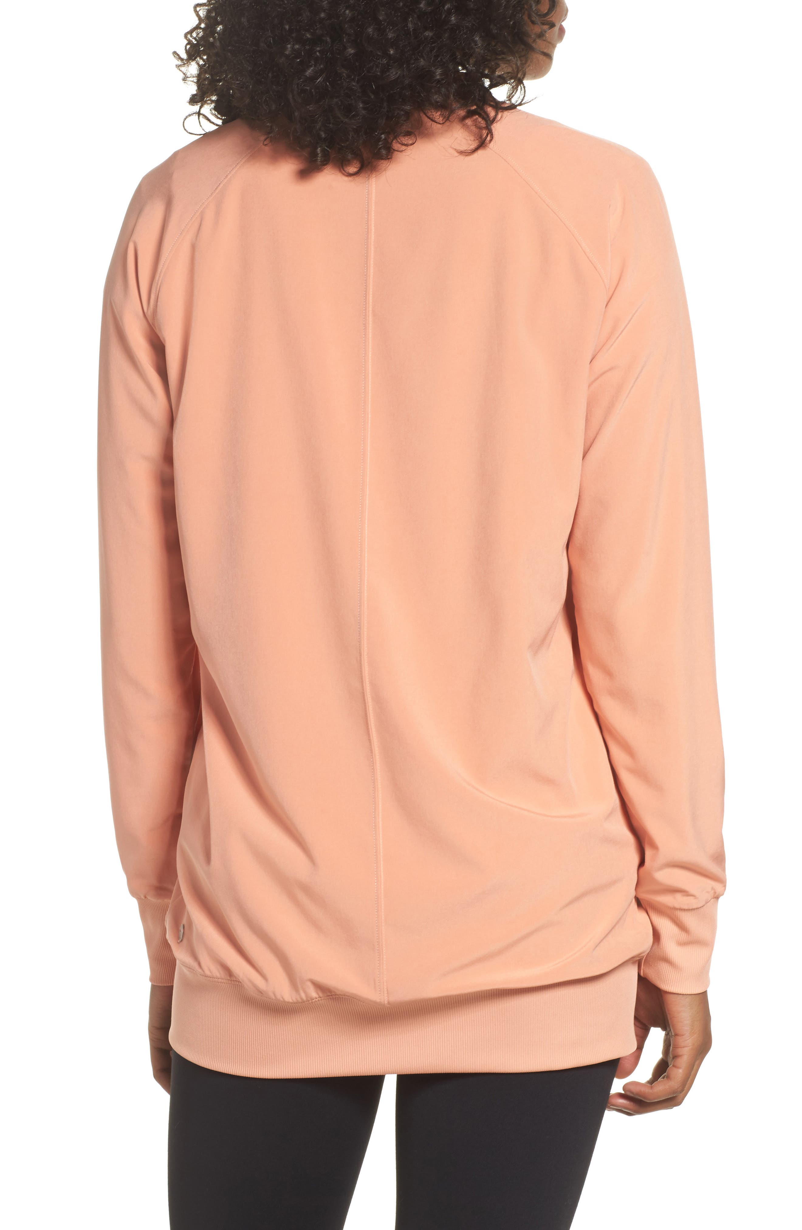 Long Bomber Jacket,                             Alternate thumbnail 2, color,                             Coral Muted