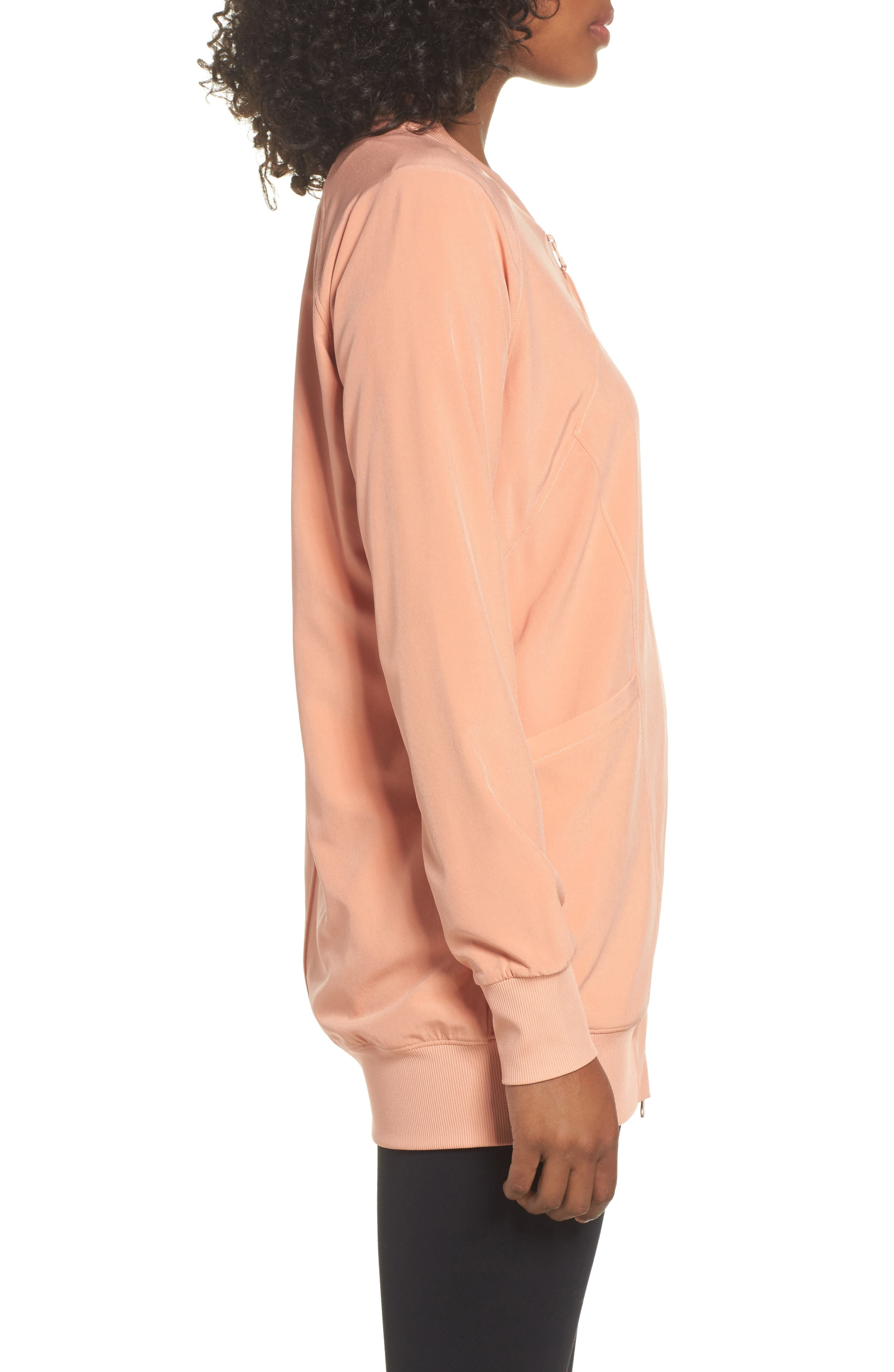 Long Bomber Jacket,                             Alternate thumbnail 3, color,                             Coral Muted