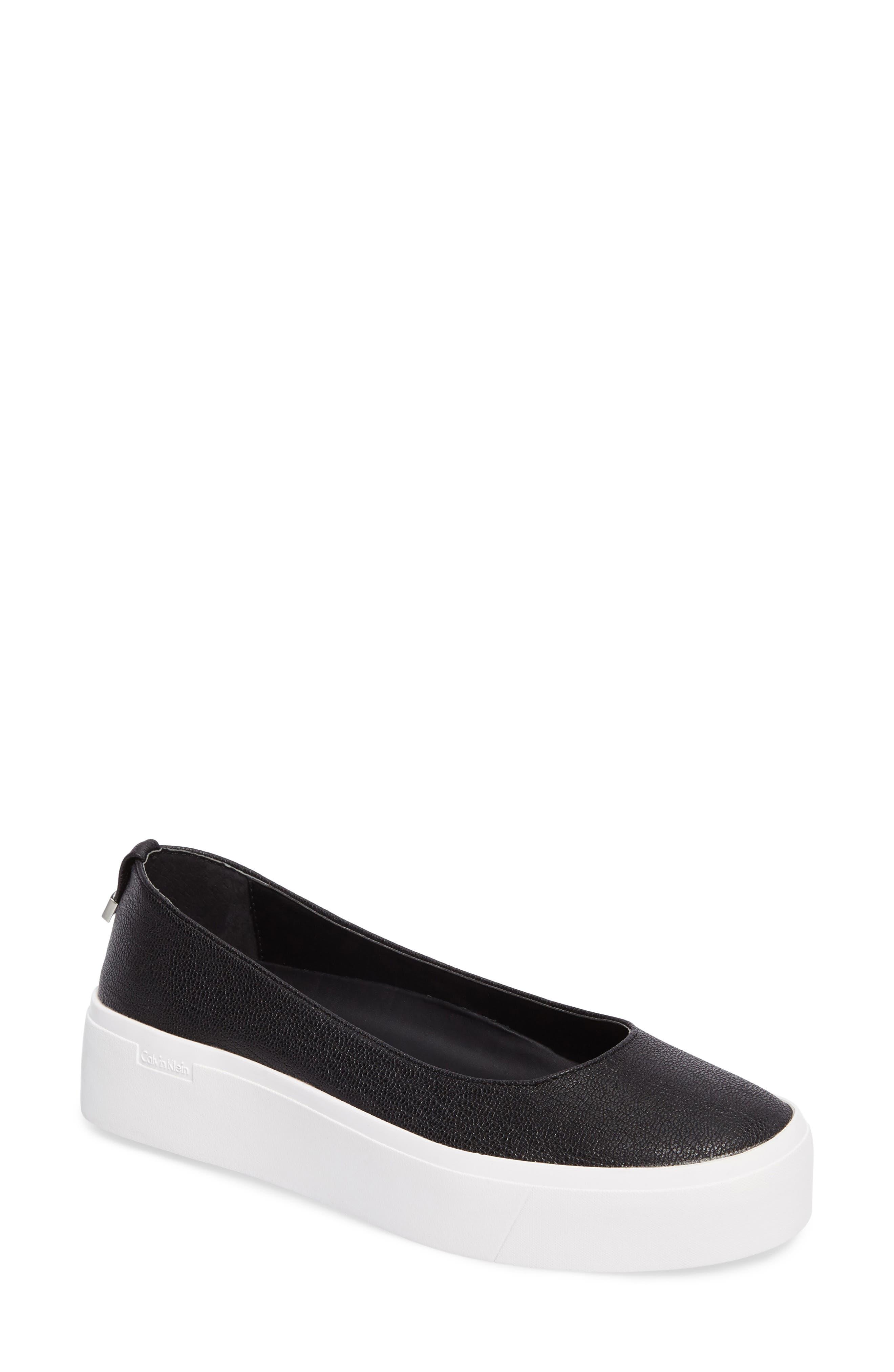 Janie Platform Flat,                         Main,                         color, Black Pebble Leather