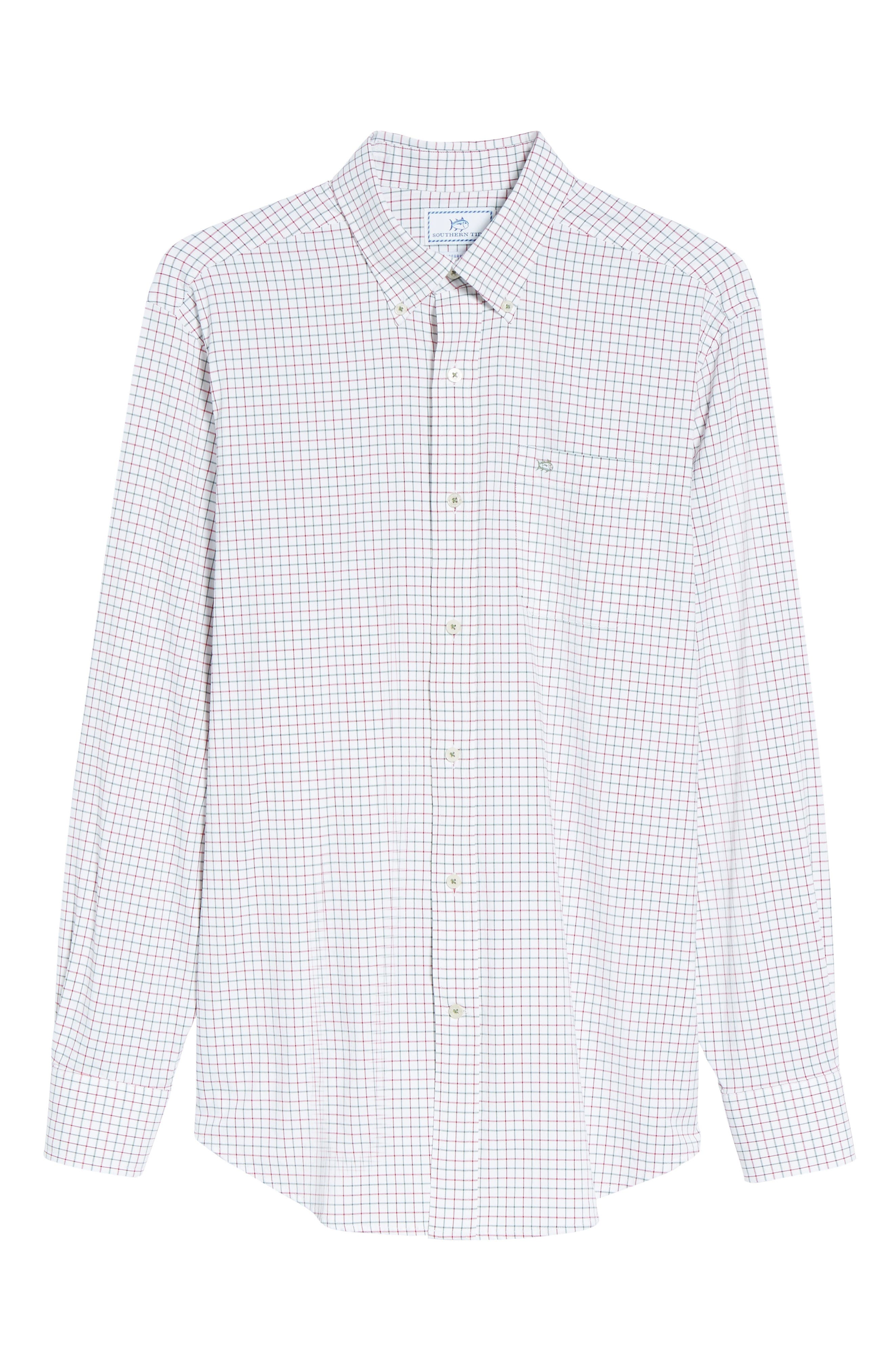 Cromwell Tattersall Performance Classic Fit Sport Shirt,                             Alternate thumbnail 6, color,                             Classic White