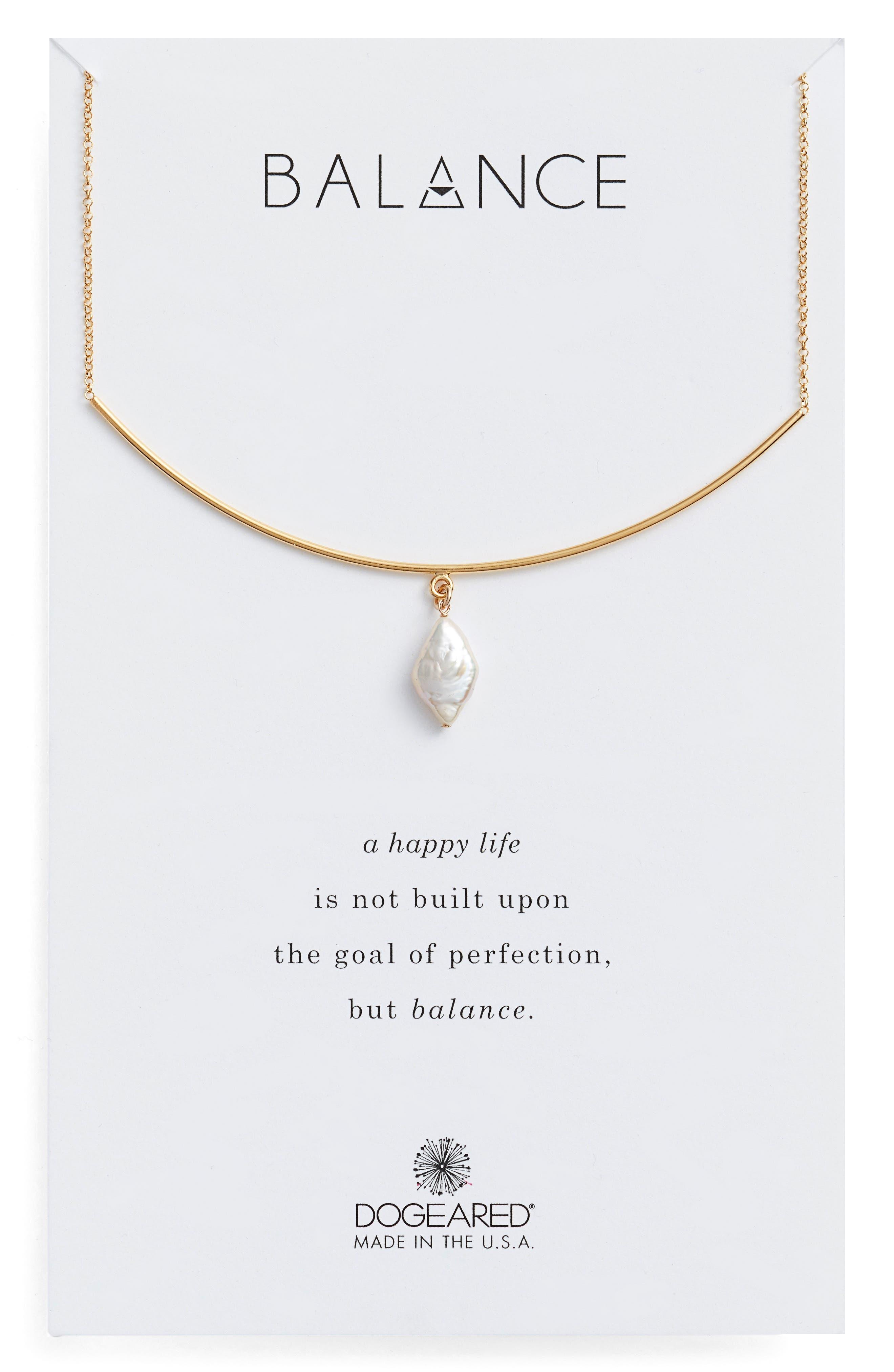 Balance Pearl Bar Necklace,                         Main,                         color, Gold
