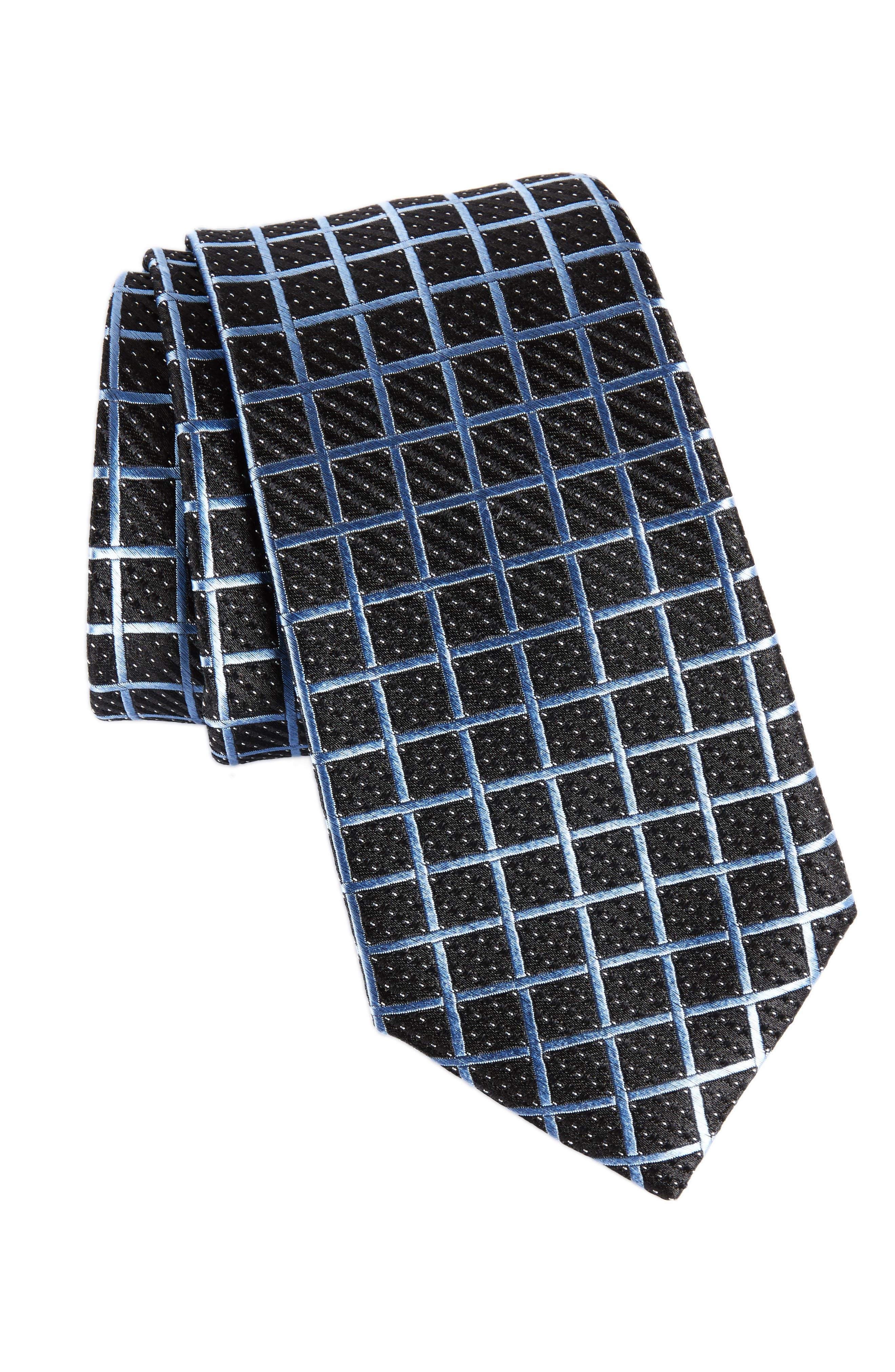 Check Silk Tie,                             Main thumbnail 1, color,                             Black