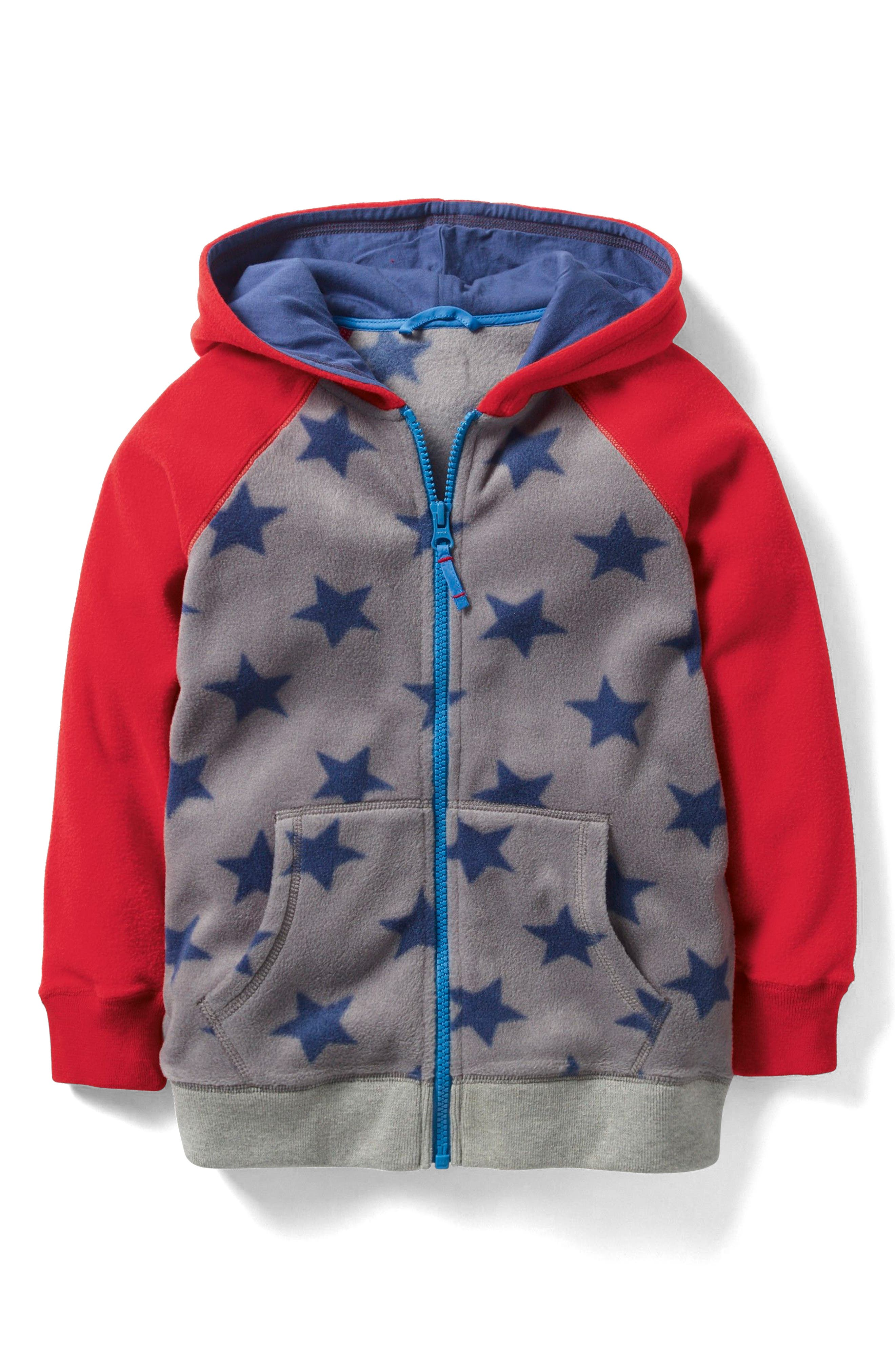 Fleece Zip Hoodie,                         Main,                         color, Grey Marl Star