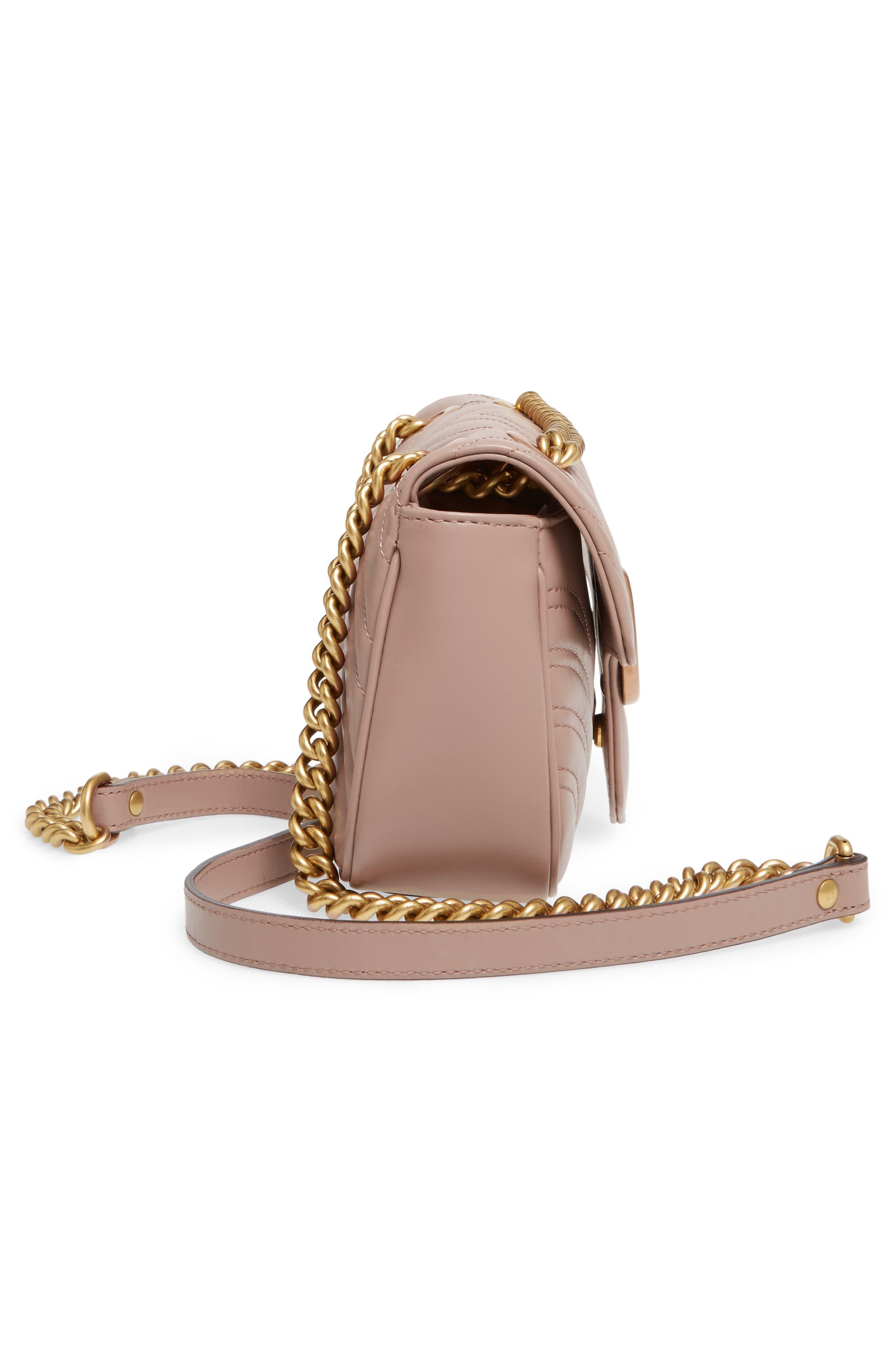 Mini GG Marmont 2.0 Matelassé Leather Shoulder Bag,                             Alternate thumbnail 3, color,                             Porcelain Rose