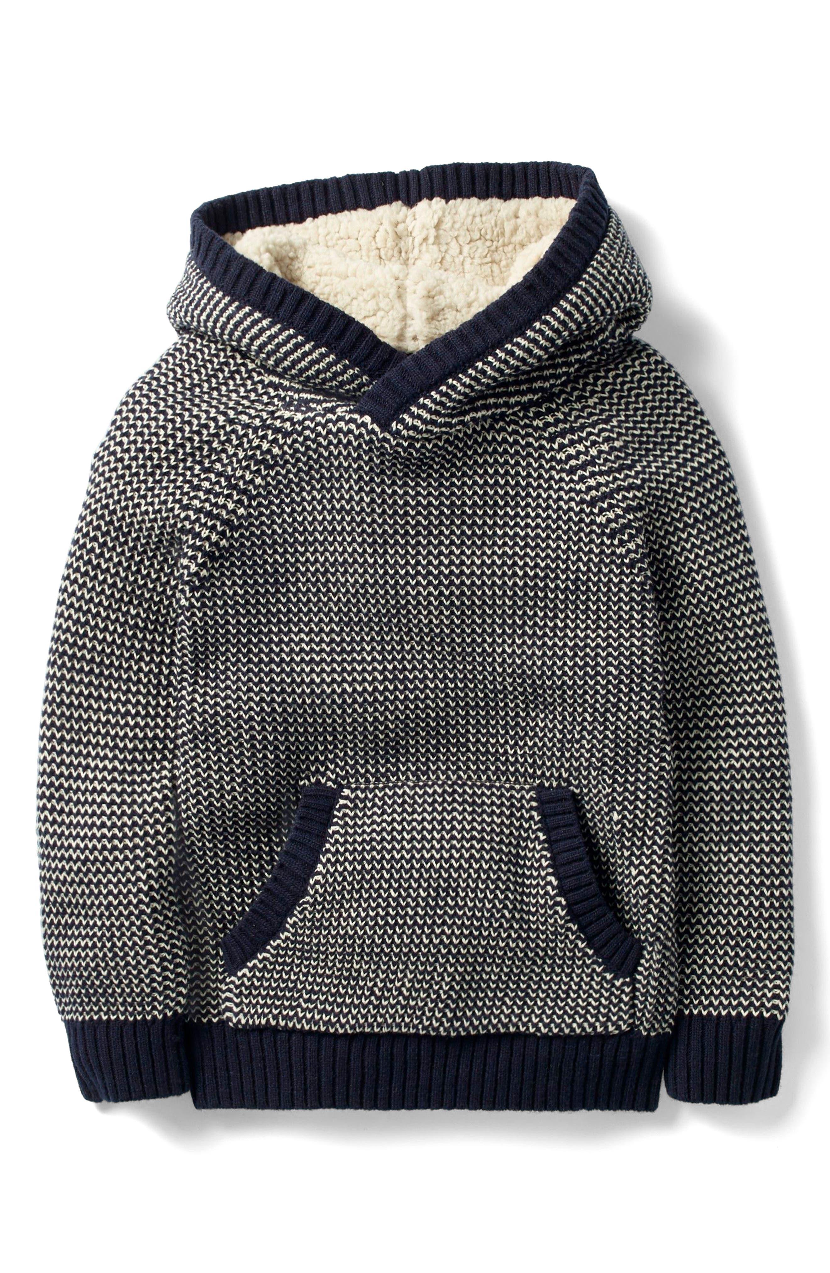 Mini Boden Knit Hoodie (Toddler Boys, Little Boys & Big Boys)