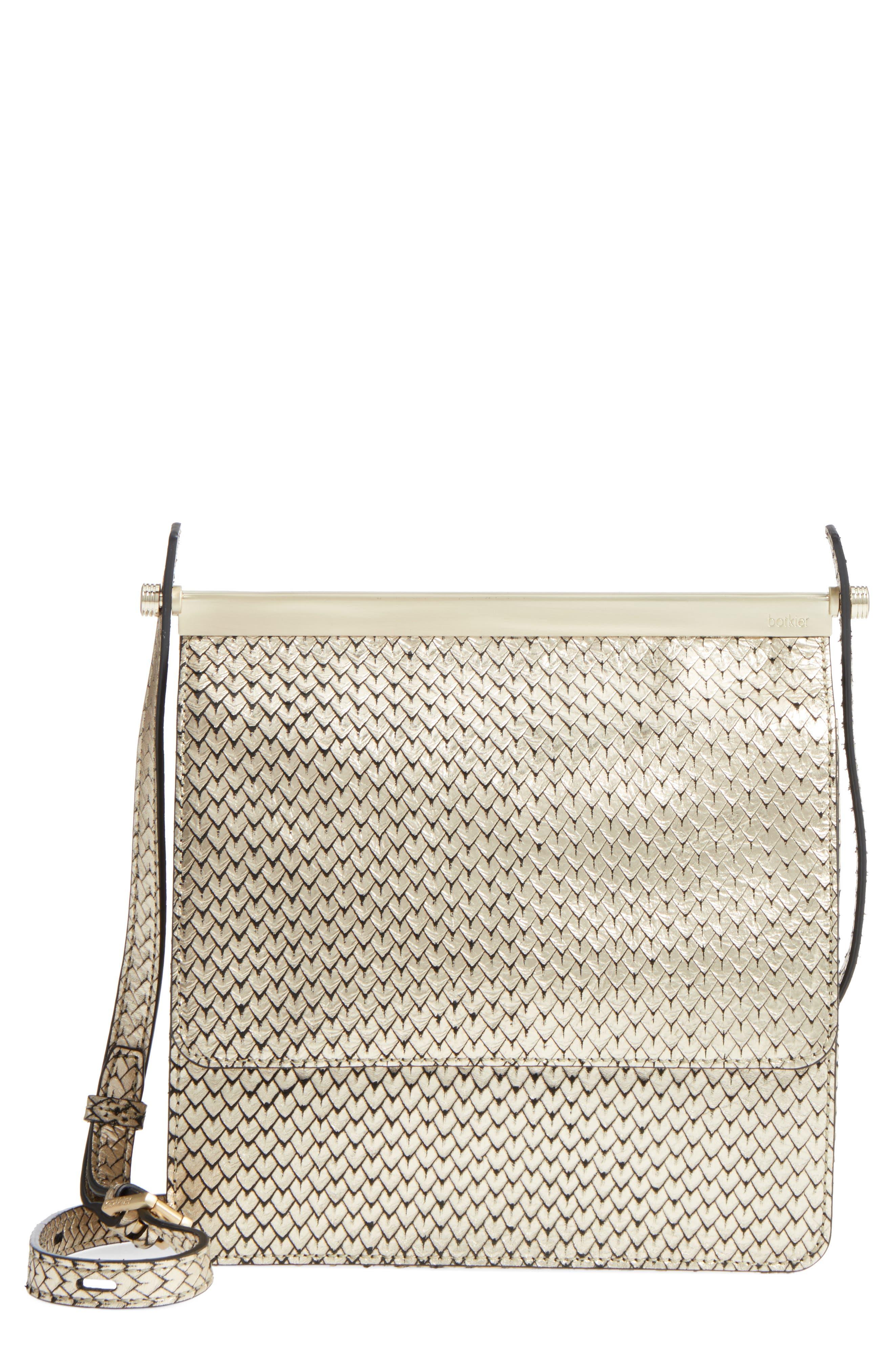 Crawford Calfskin Leather Crossbody Bag,                             Main thumbnail 1, color,                             Gold
