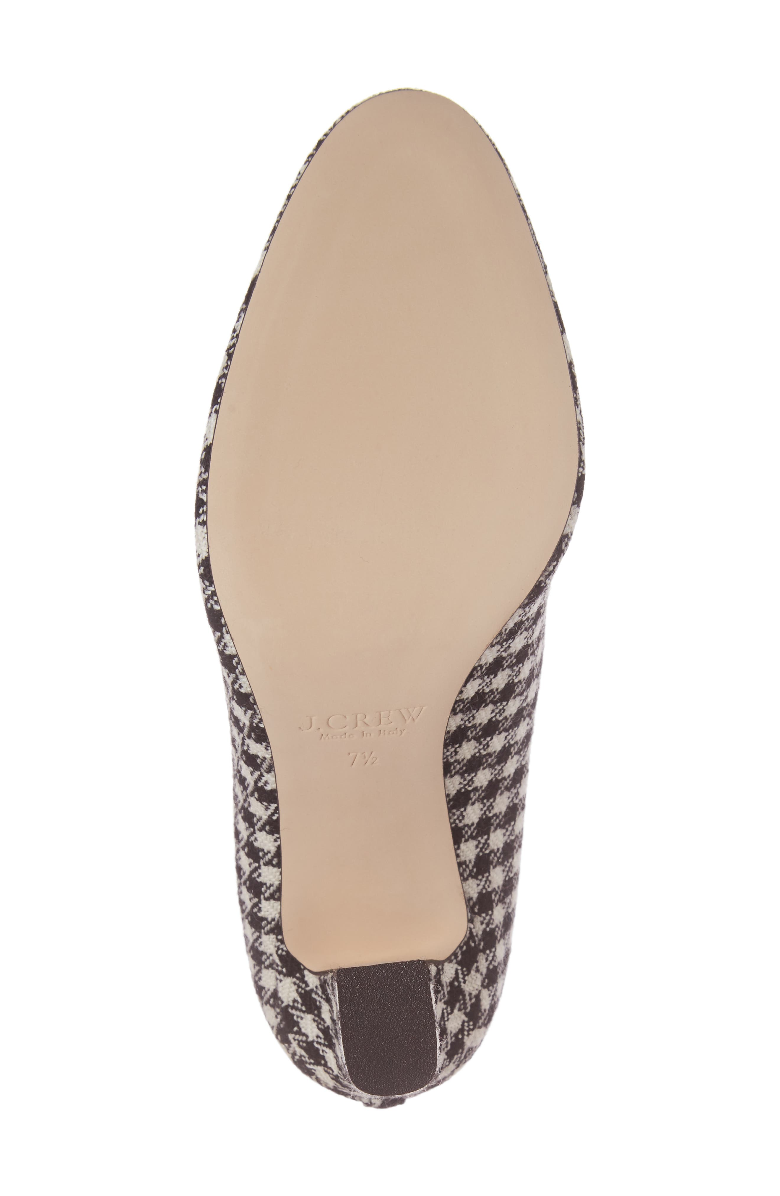 J. Crew Bell Ankle Tie Pump,                             Alternate thumbnail 6, color,                             Black/ Ivory Fabric