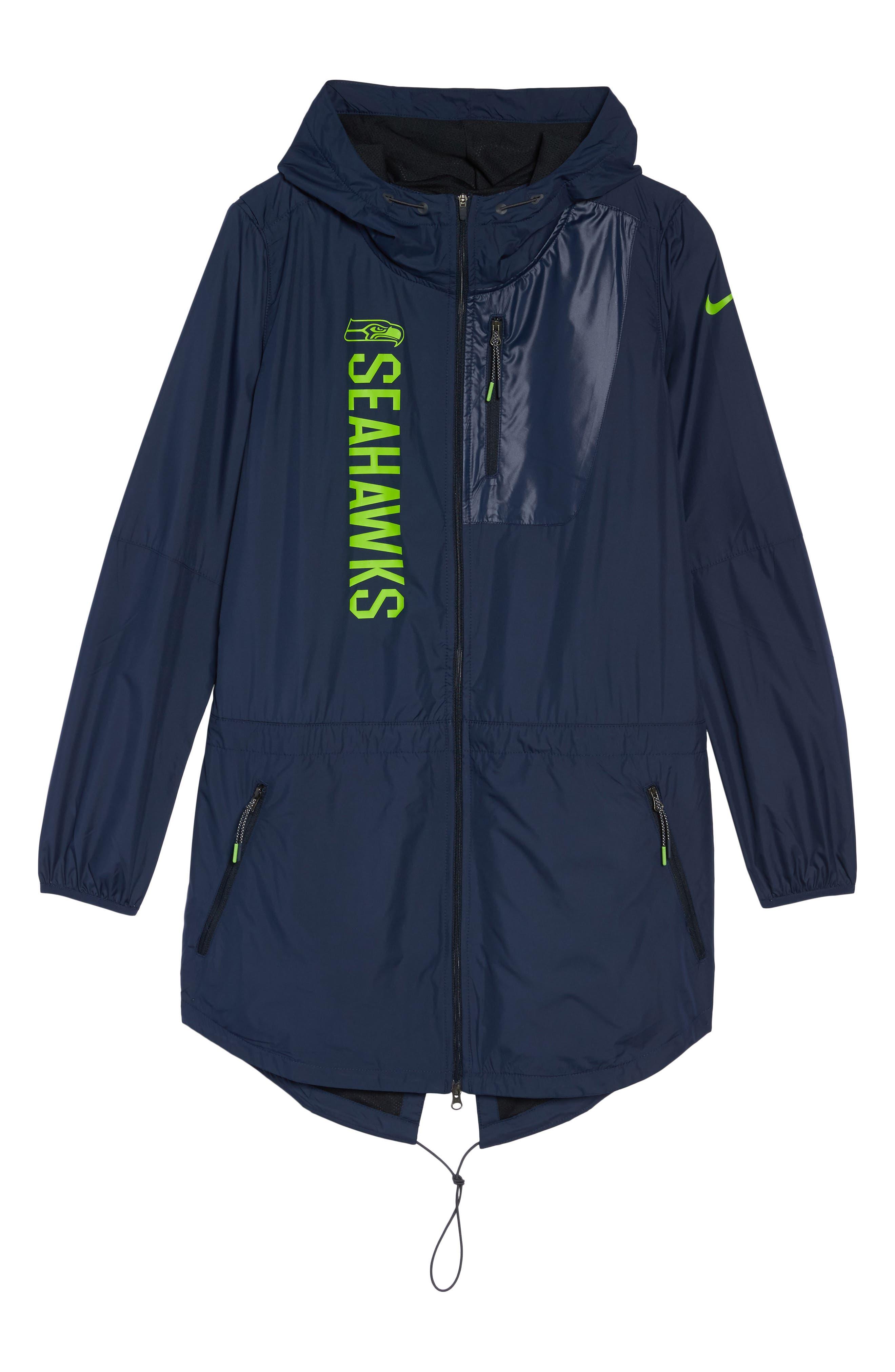 NFL Packable Water Resistant Jacket,                             Alternate thumbnail 7, color,                             College Navy/ Seahawks