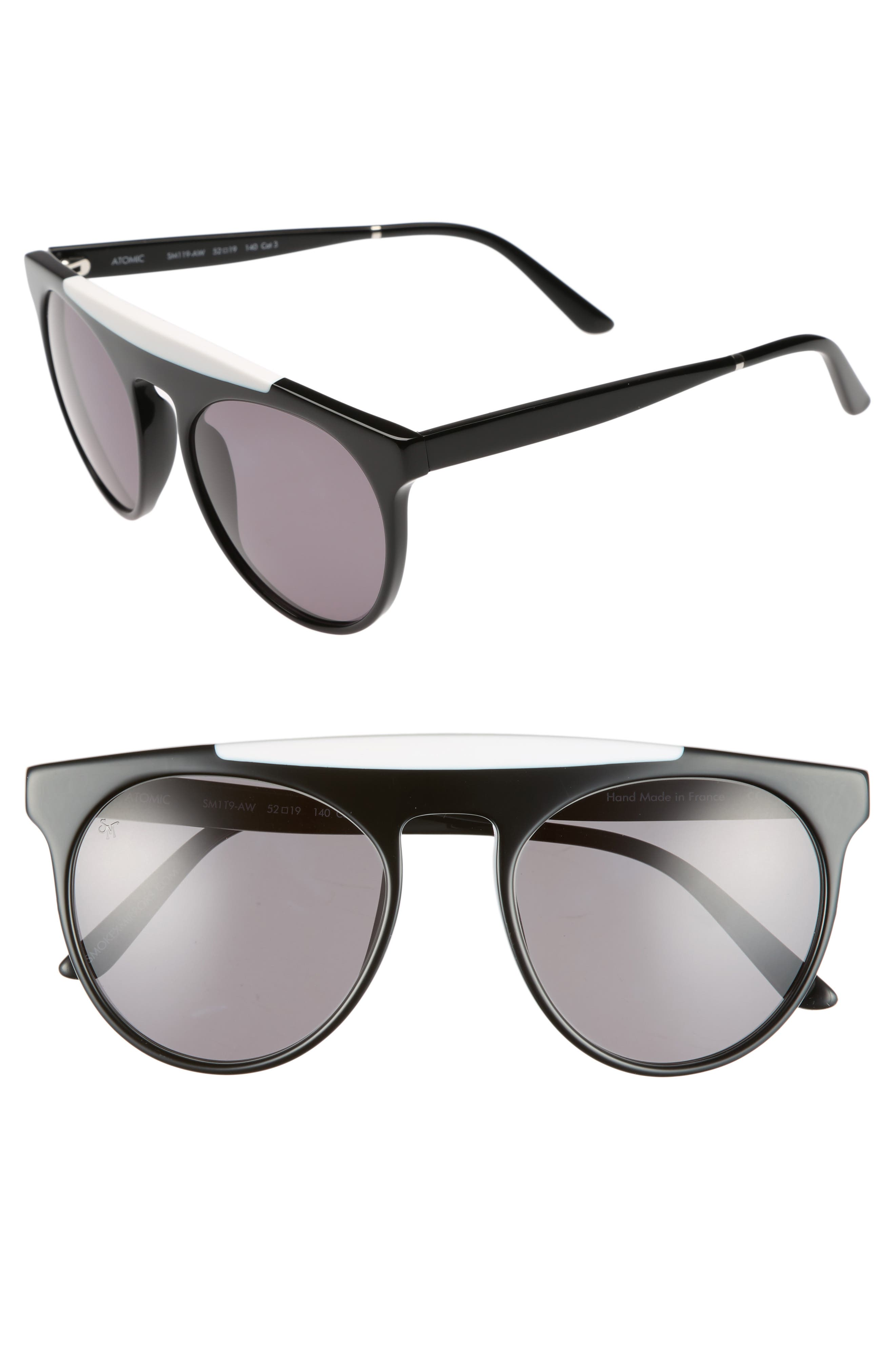 Atomic 52mm Sunglasses,                         Main,                         color, Black/ White/ Grey