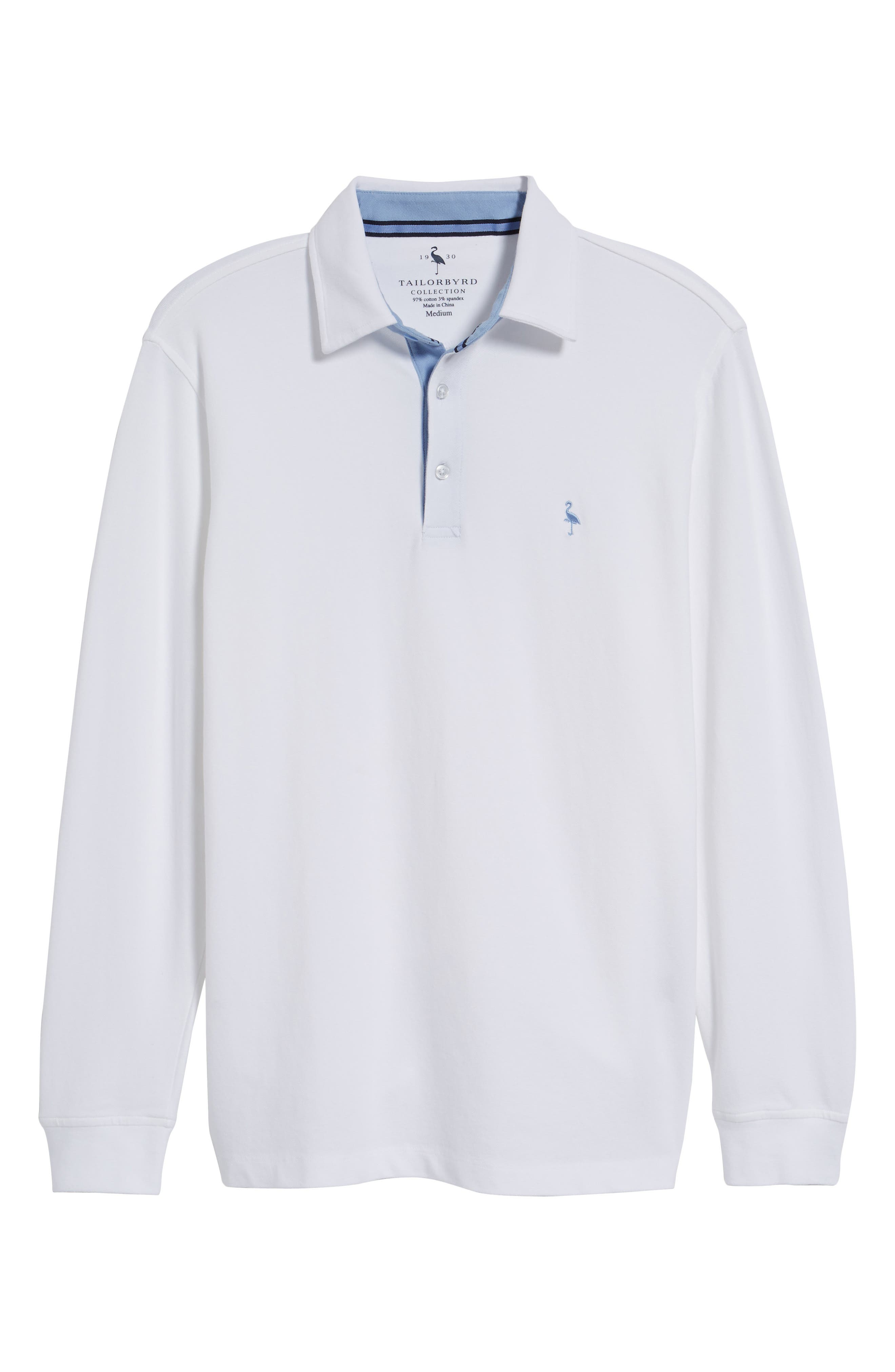 Two-Tone Piqué Knit Polo,                             Alternate thumbnail 6, color,                             Pure White