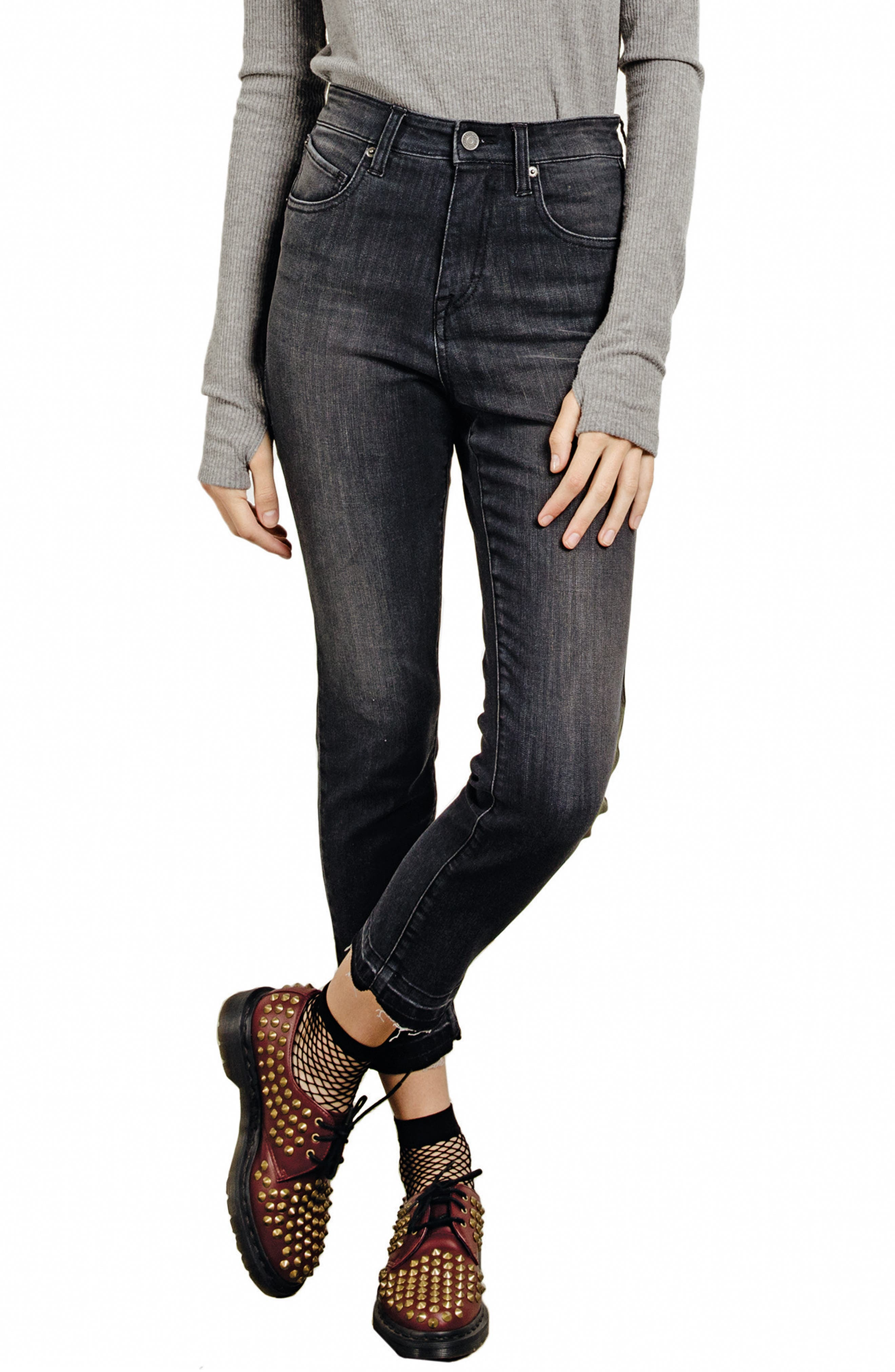 Lady High Waist Jeans,                         Main,                         color, Charred