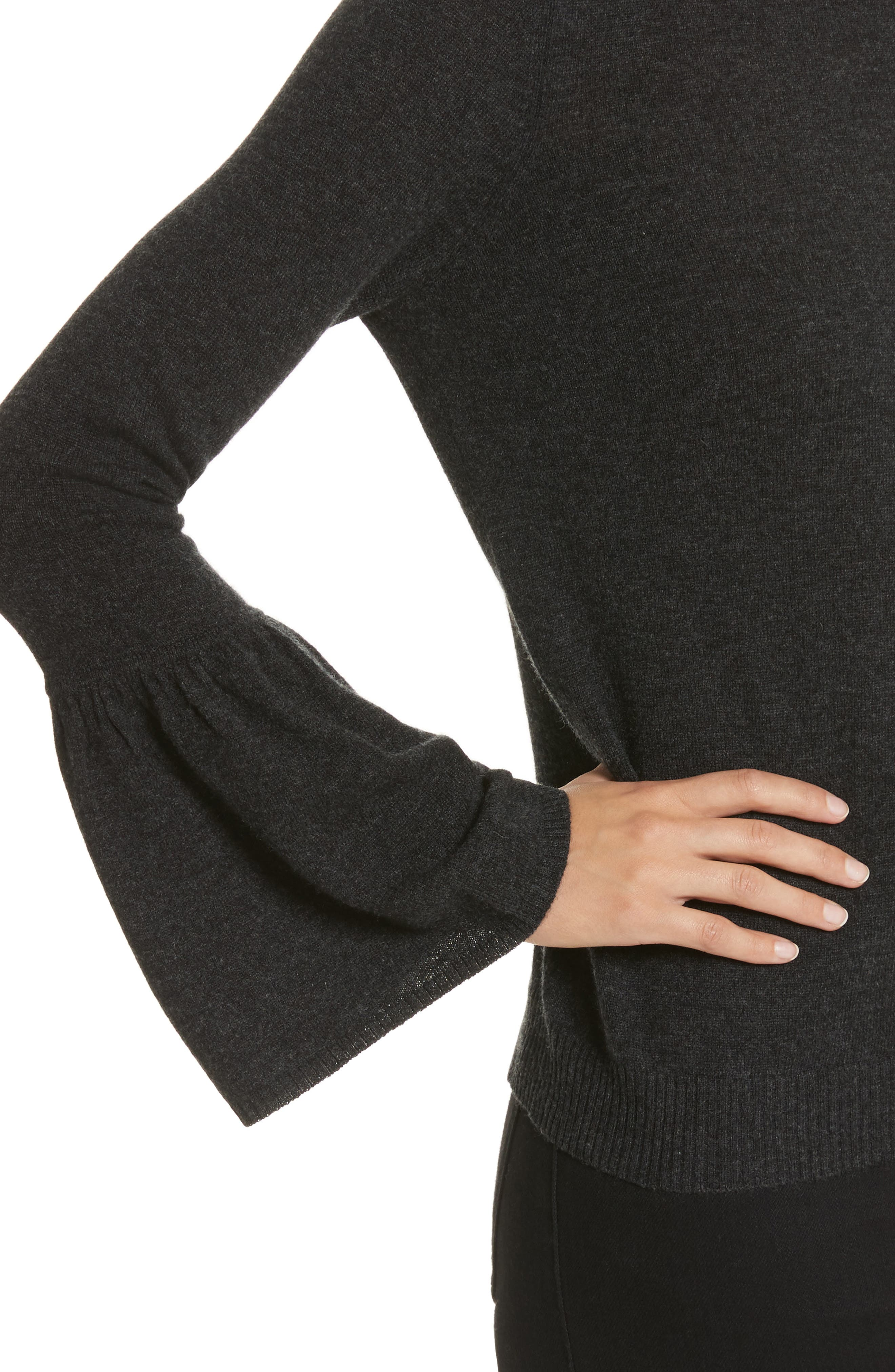 Cashmere Bell Sleeve Sweater,                             Alternate thumbnail 4, color,                             Lead