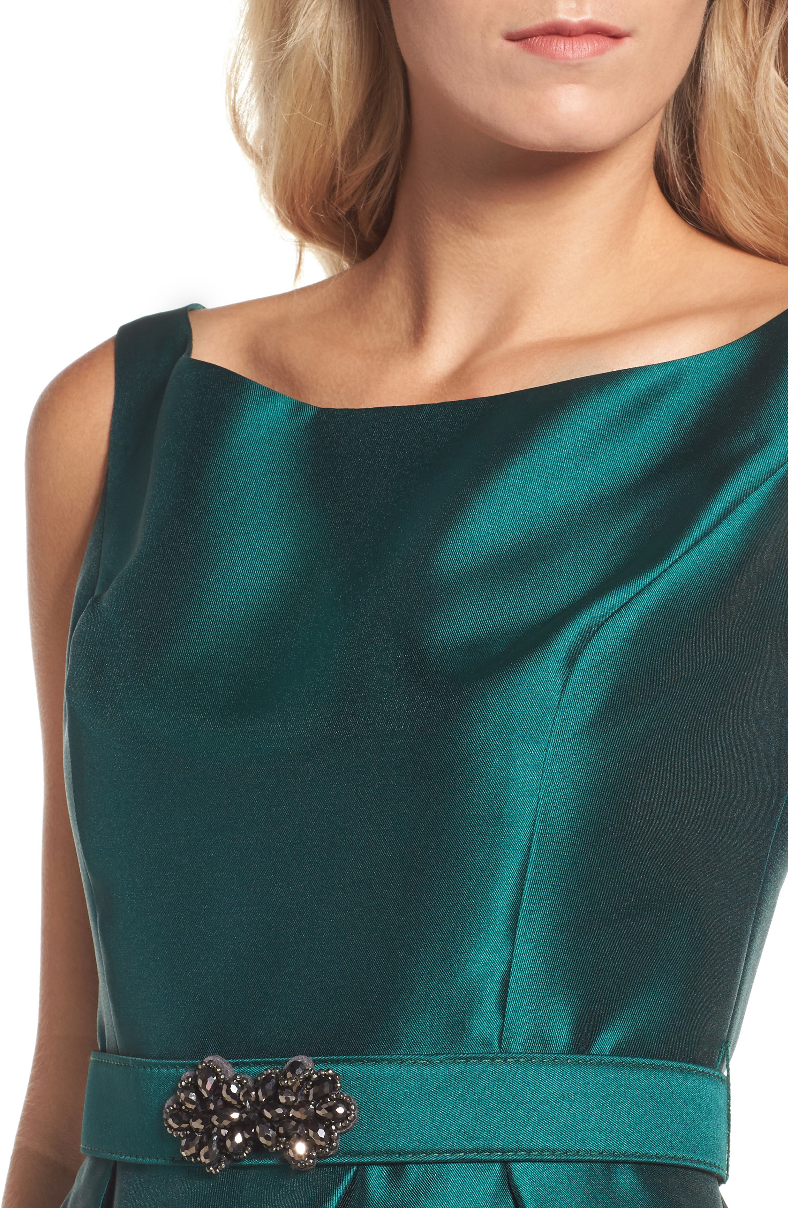 Embellished High/Low Dress,                             Alternate thumbnail 4, color,                             Emerald