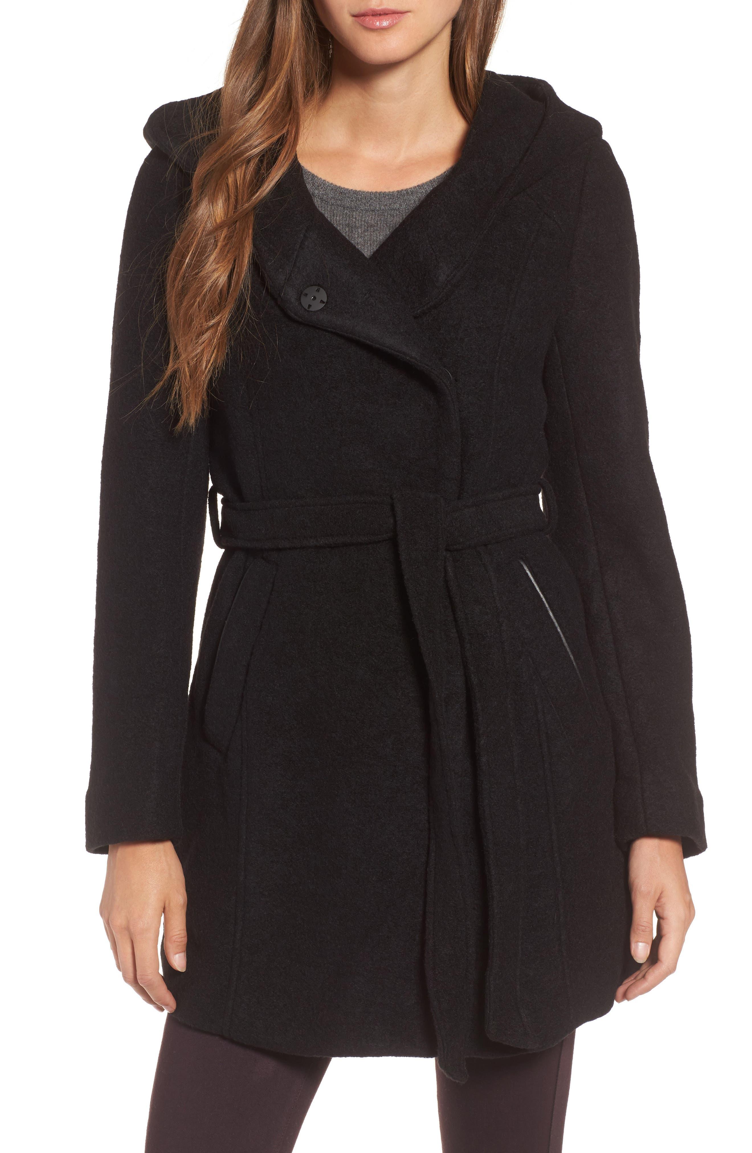 Felted Wool Blend Coat,                         Main,                         color, Black