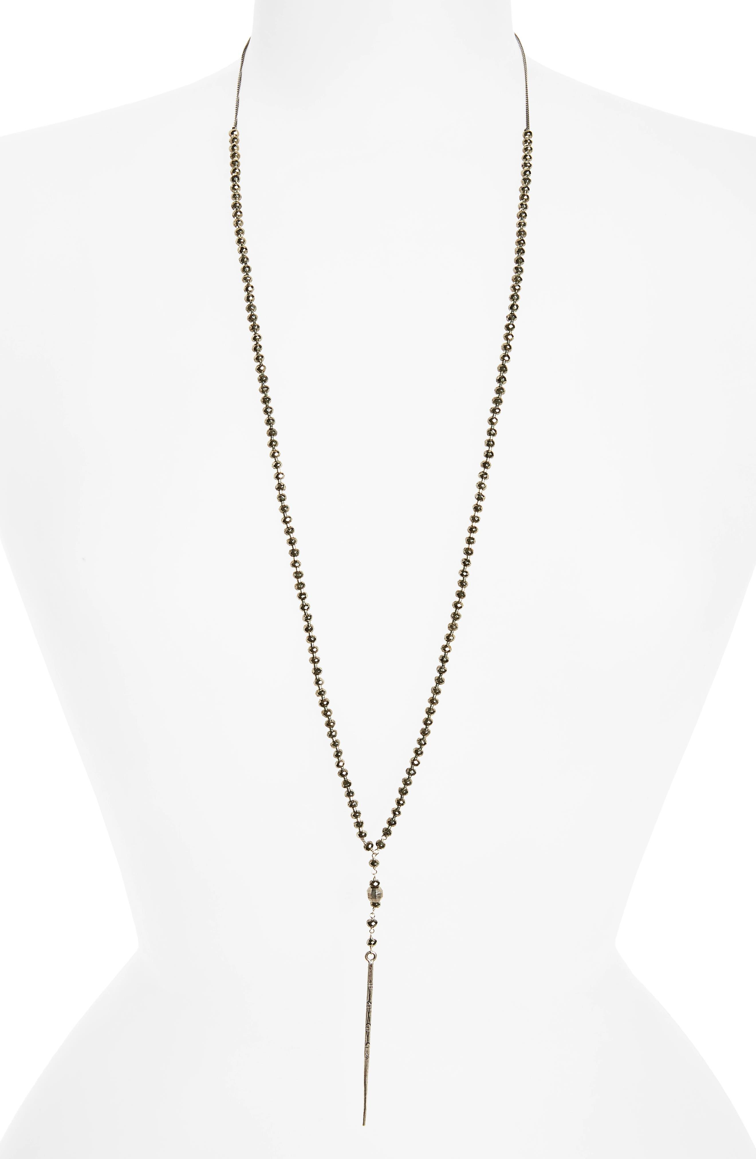 Sterling Silver Dagger Pendant Y-Necklace,                         Main,                         color, Pyrite/ Silver