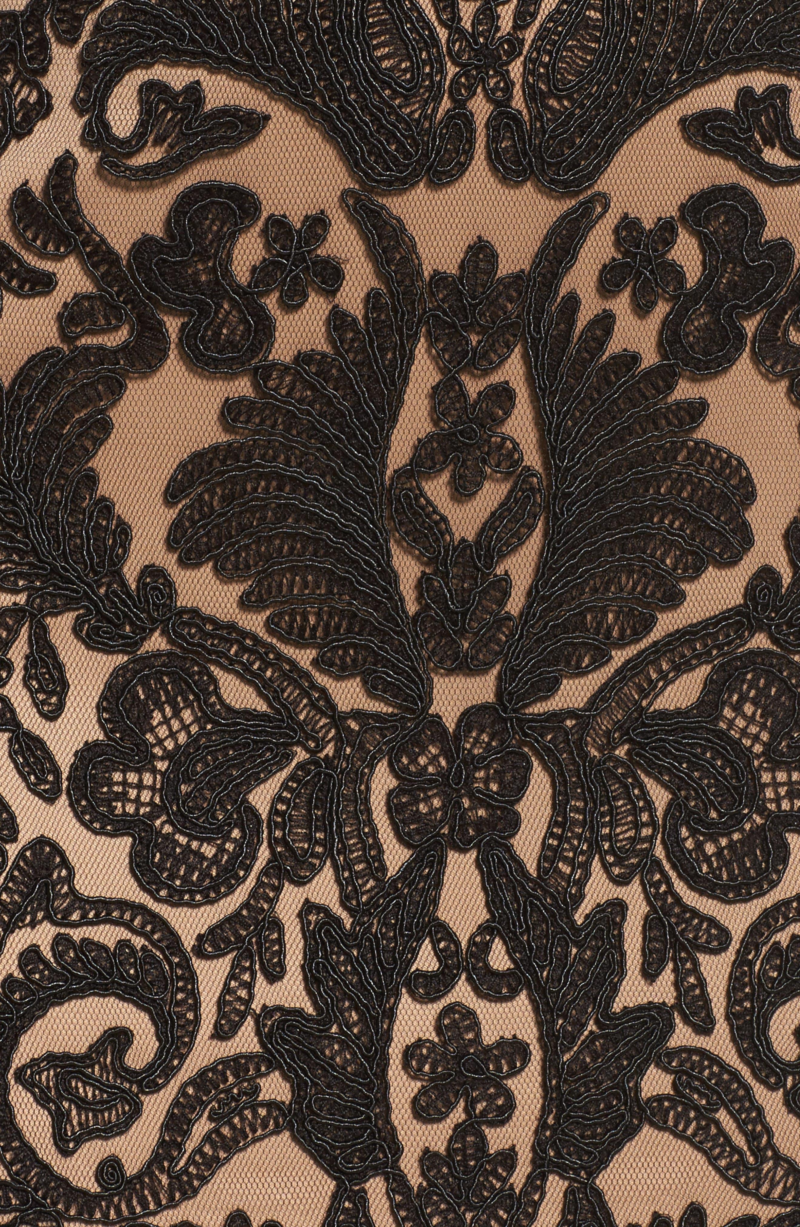 Illusion Yoke Gown,                             Alternate thumbnail 5, color,                             Black/ Nude
