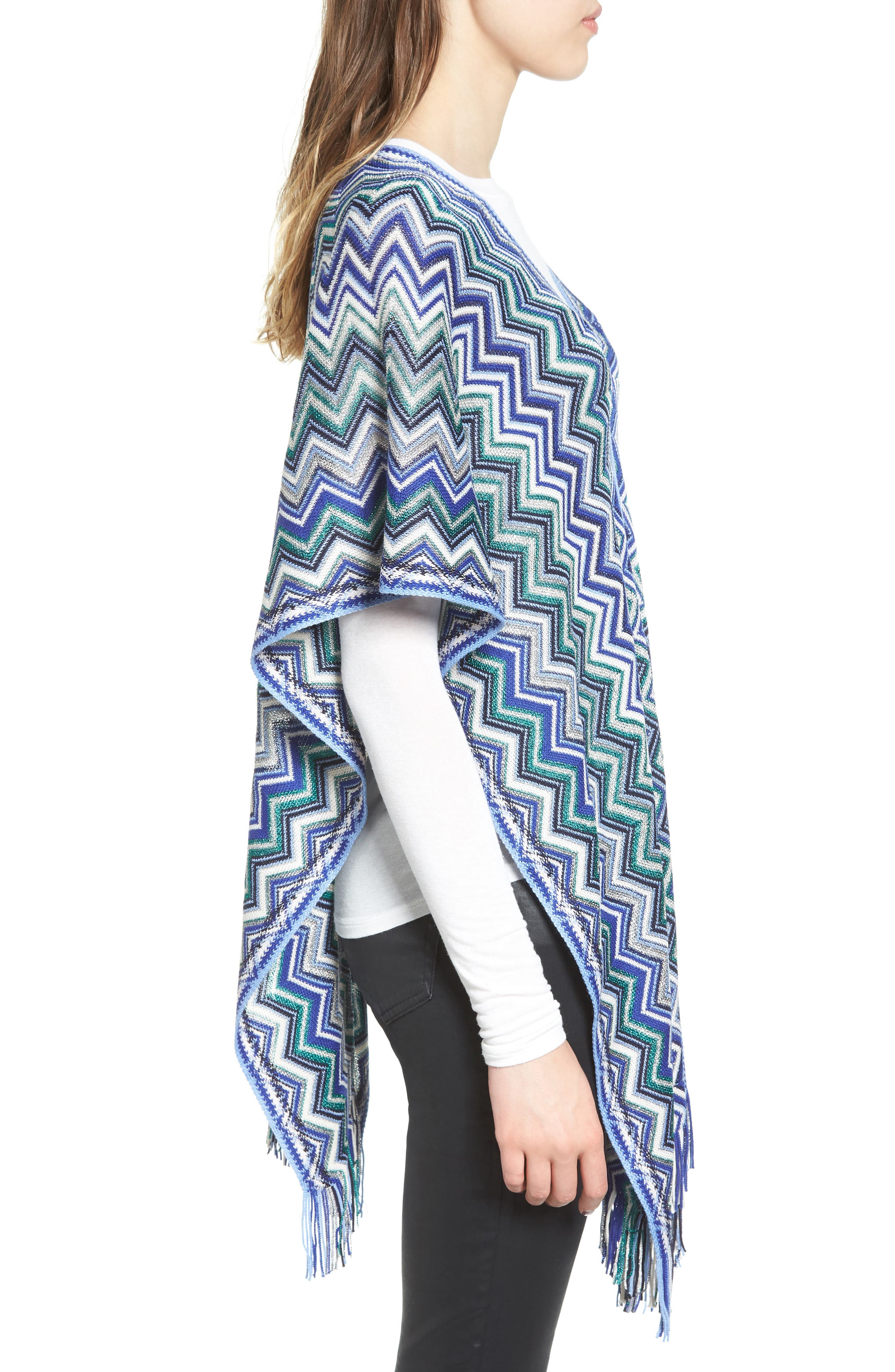 Fringe Poncho,                             Alternate thumbnail 3, color,                             Blue