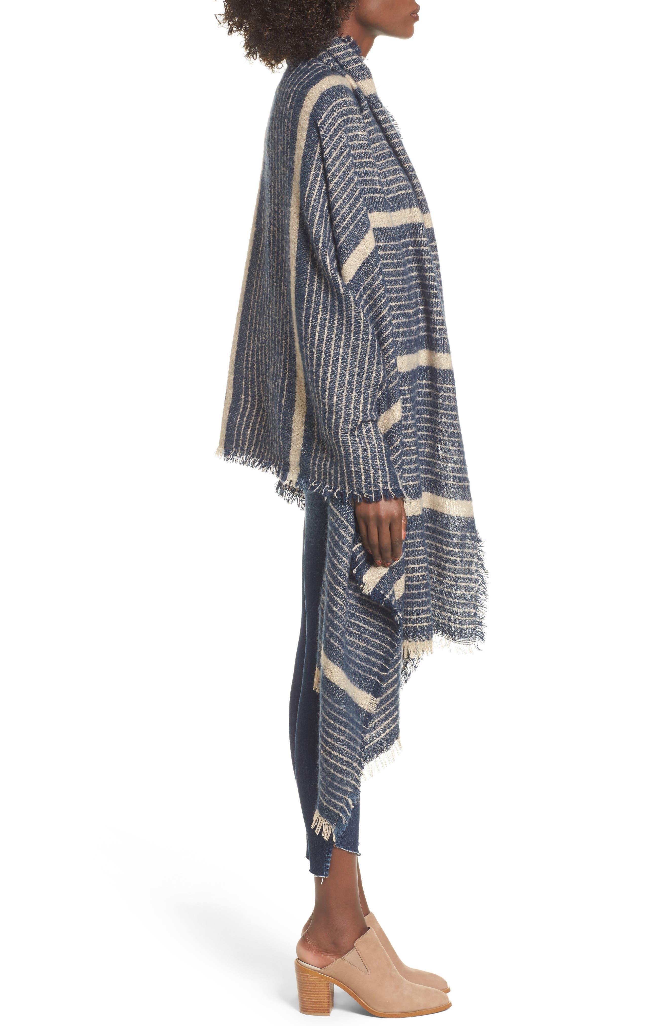 Stripe Blanket Scarf,                             Alternate thumbnail 3, color,                             Navy Combo