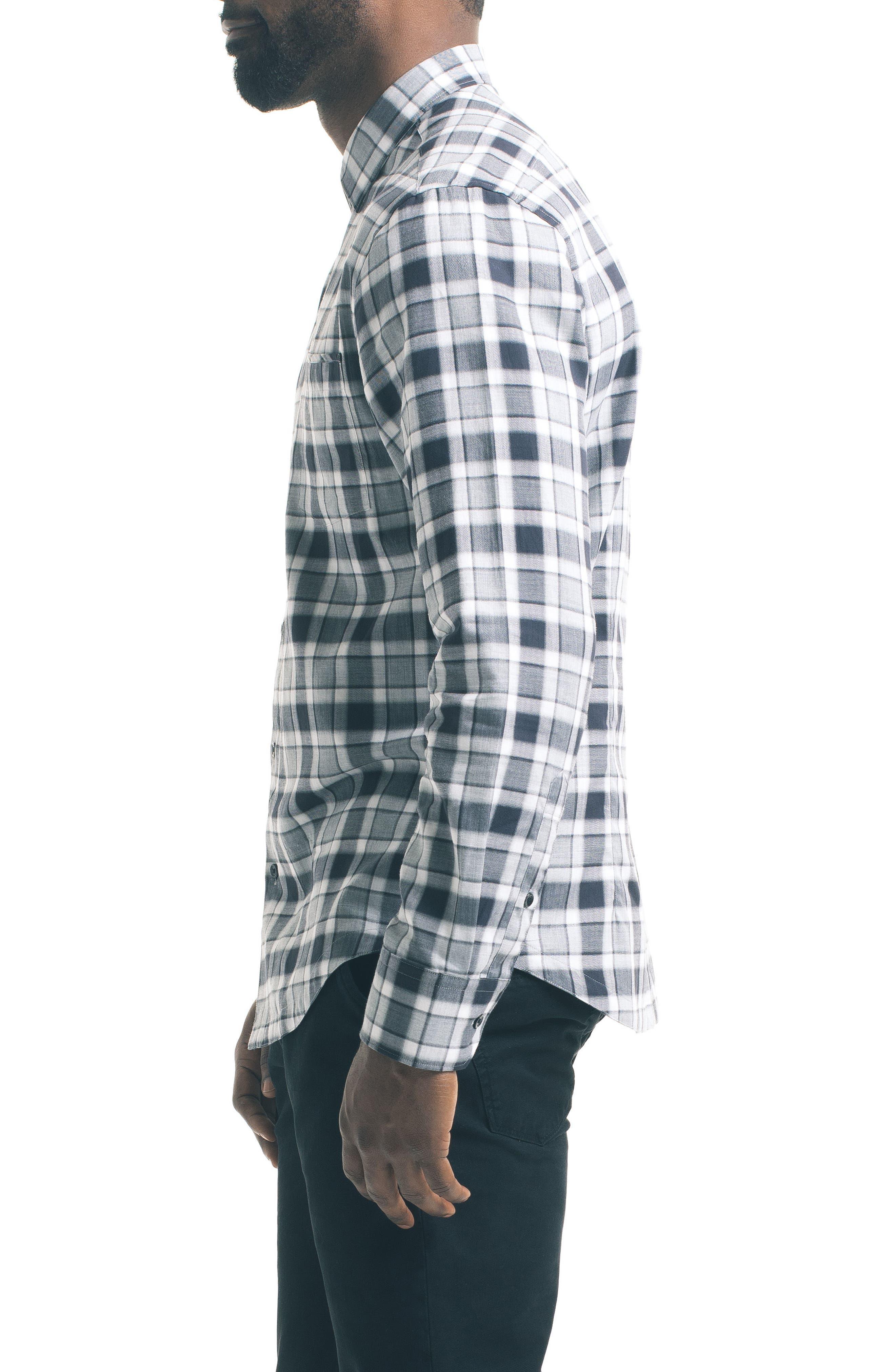 Herringbone Check Sport Shirt,                             Alternate thumbnail 3, color,                             Grey