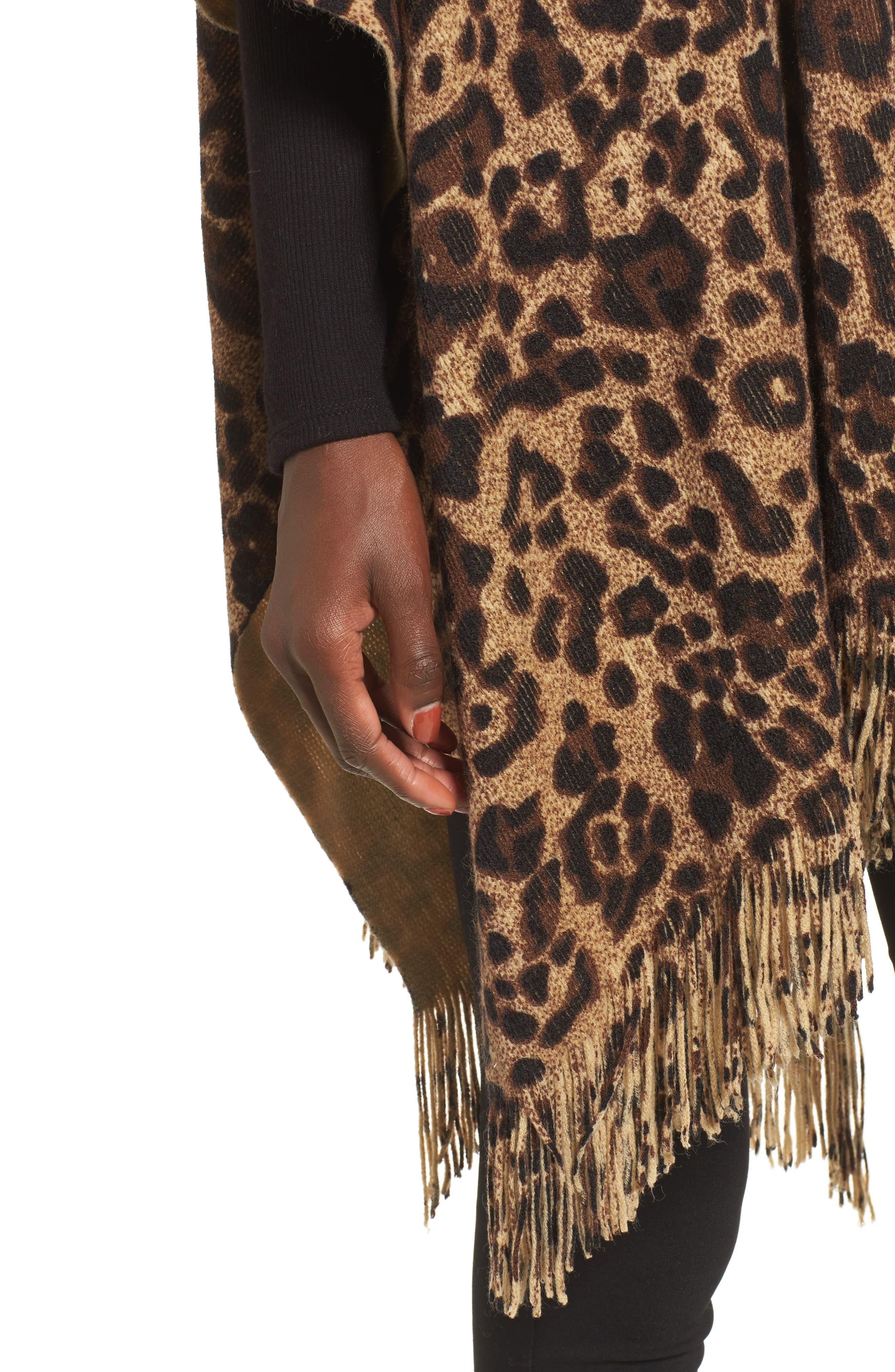 Alternate Image 4  - Sole Society Leopard Print Fringe Wrap