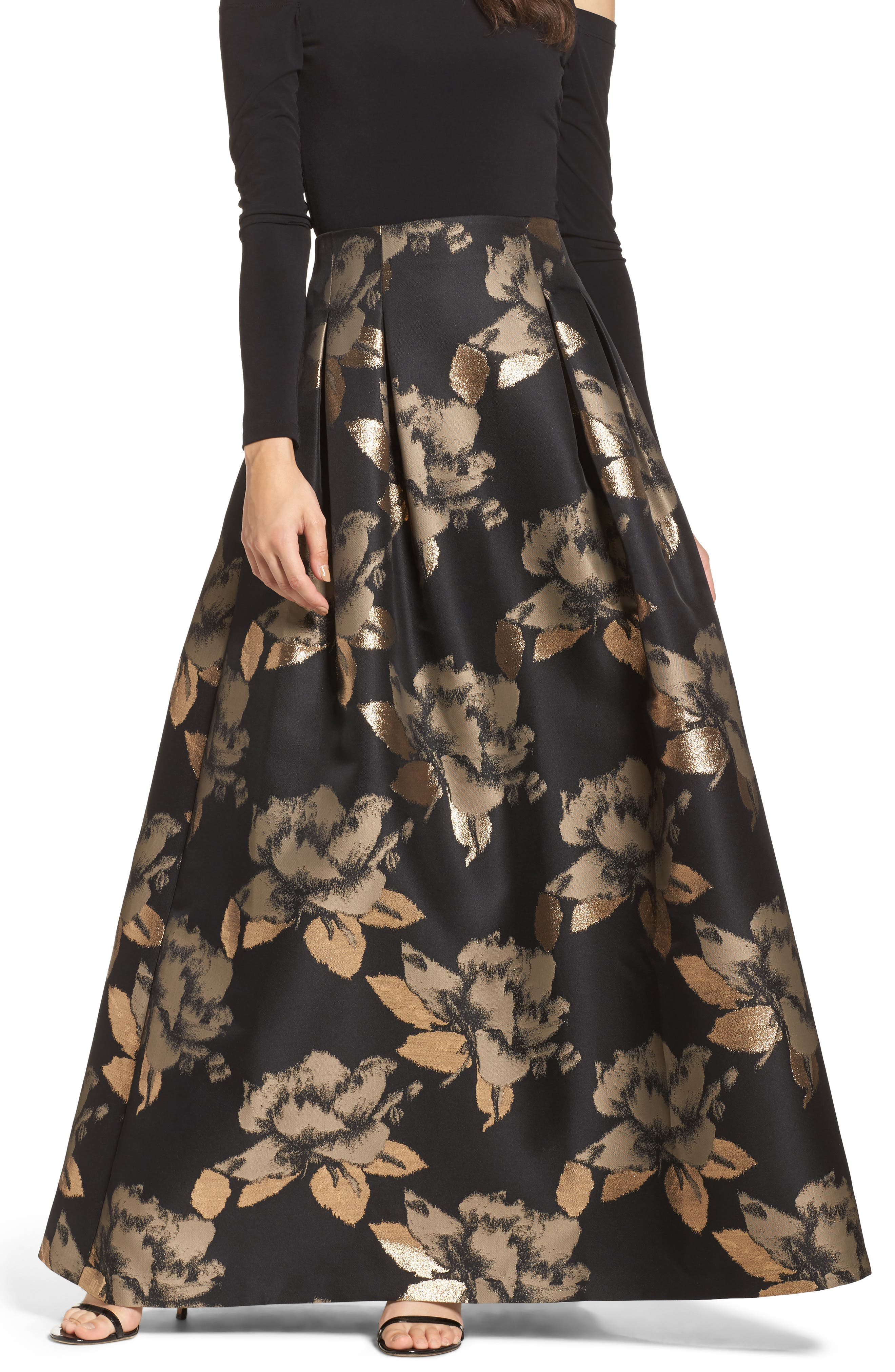 High Waist Ball Skirt,                         Main,                         color, Black/ Gold