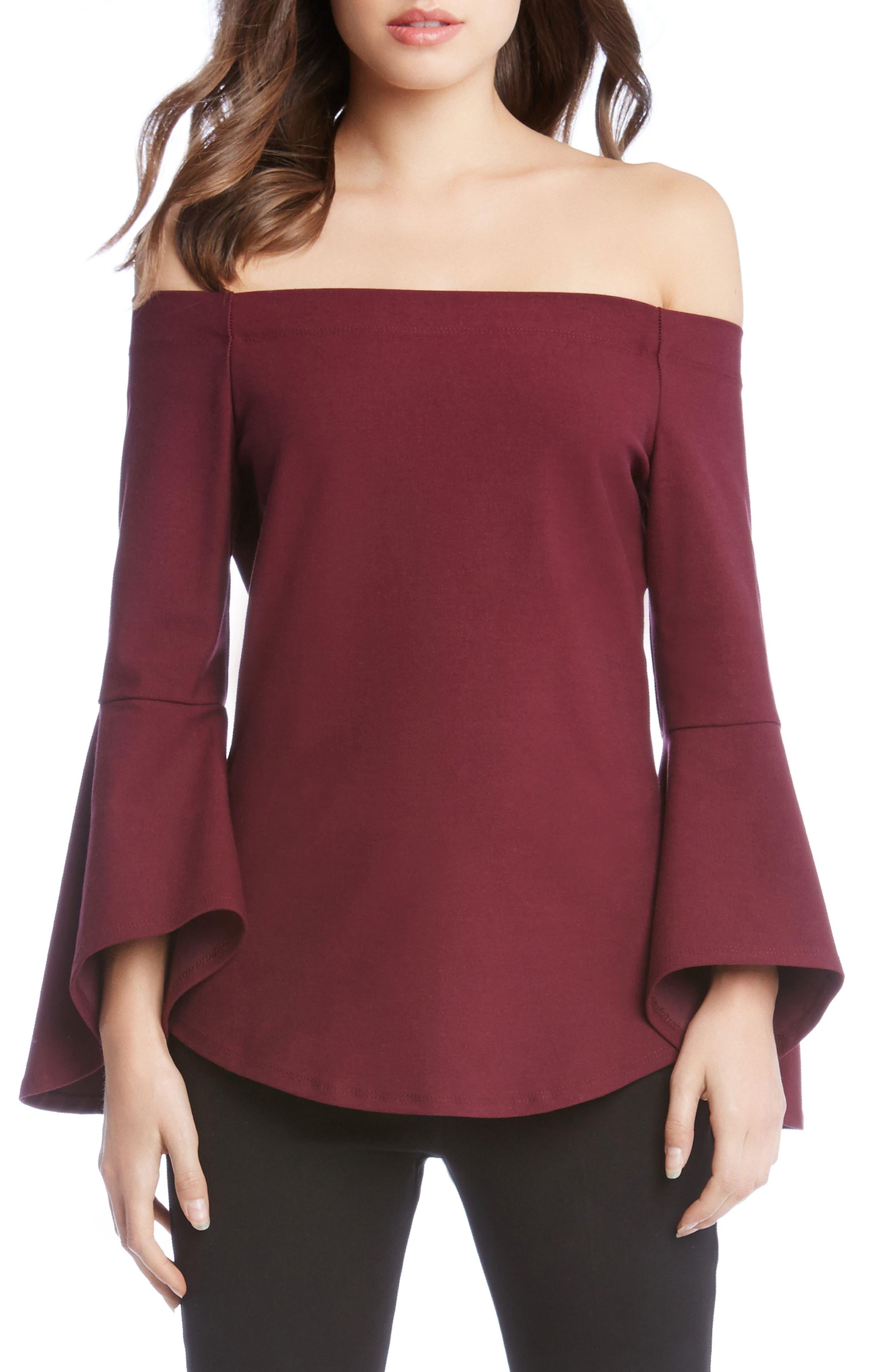 Alternate Image 1 Selected - Karen Kane Off the Shoulder Bell Sleeve Top