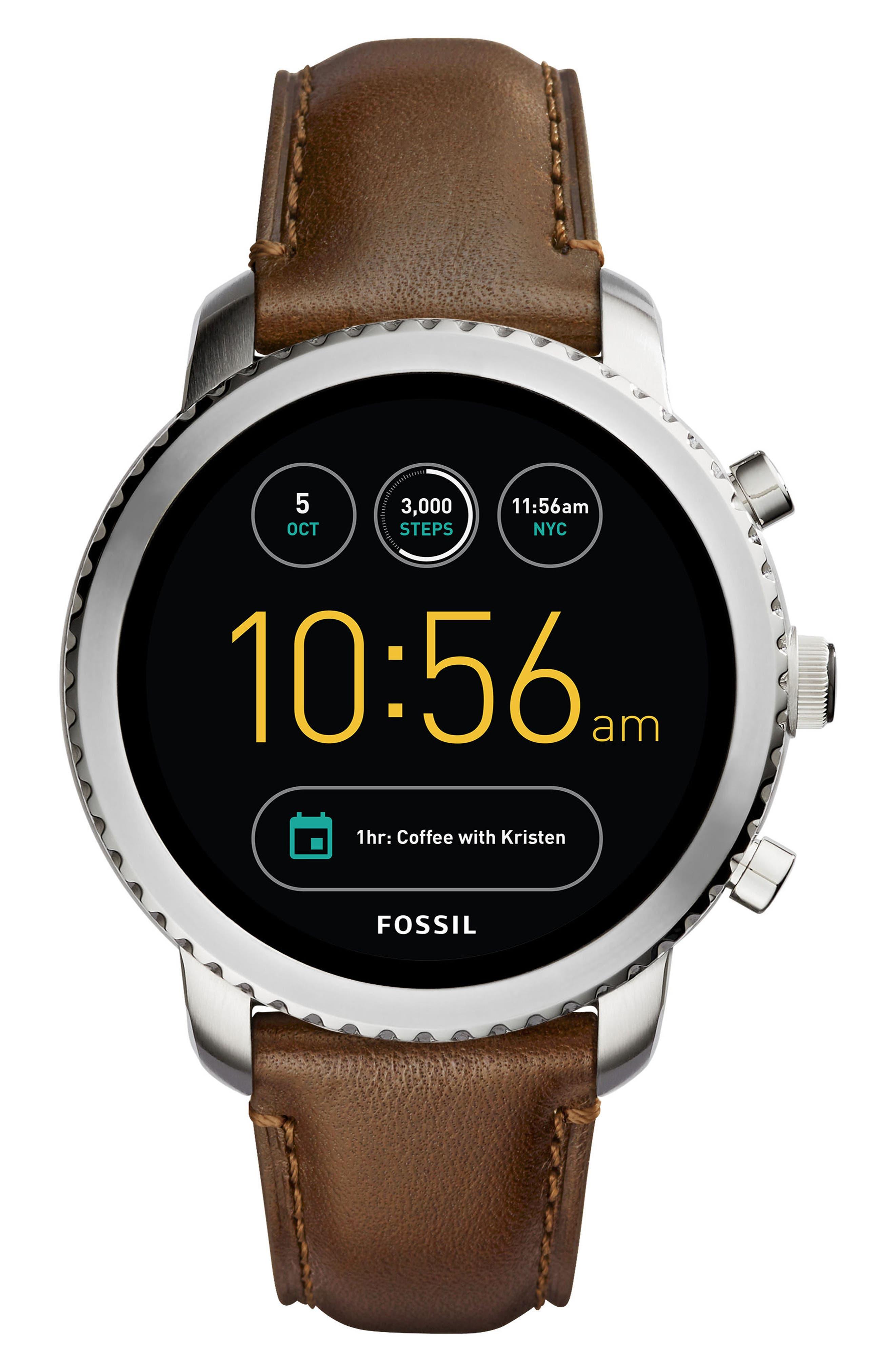 Explorist Gen 3 Leather Strap Smartwatch, 44mm,                         Main,                         color, Brown/ Silver