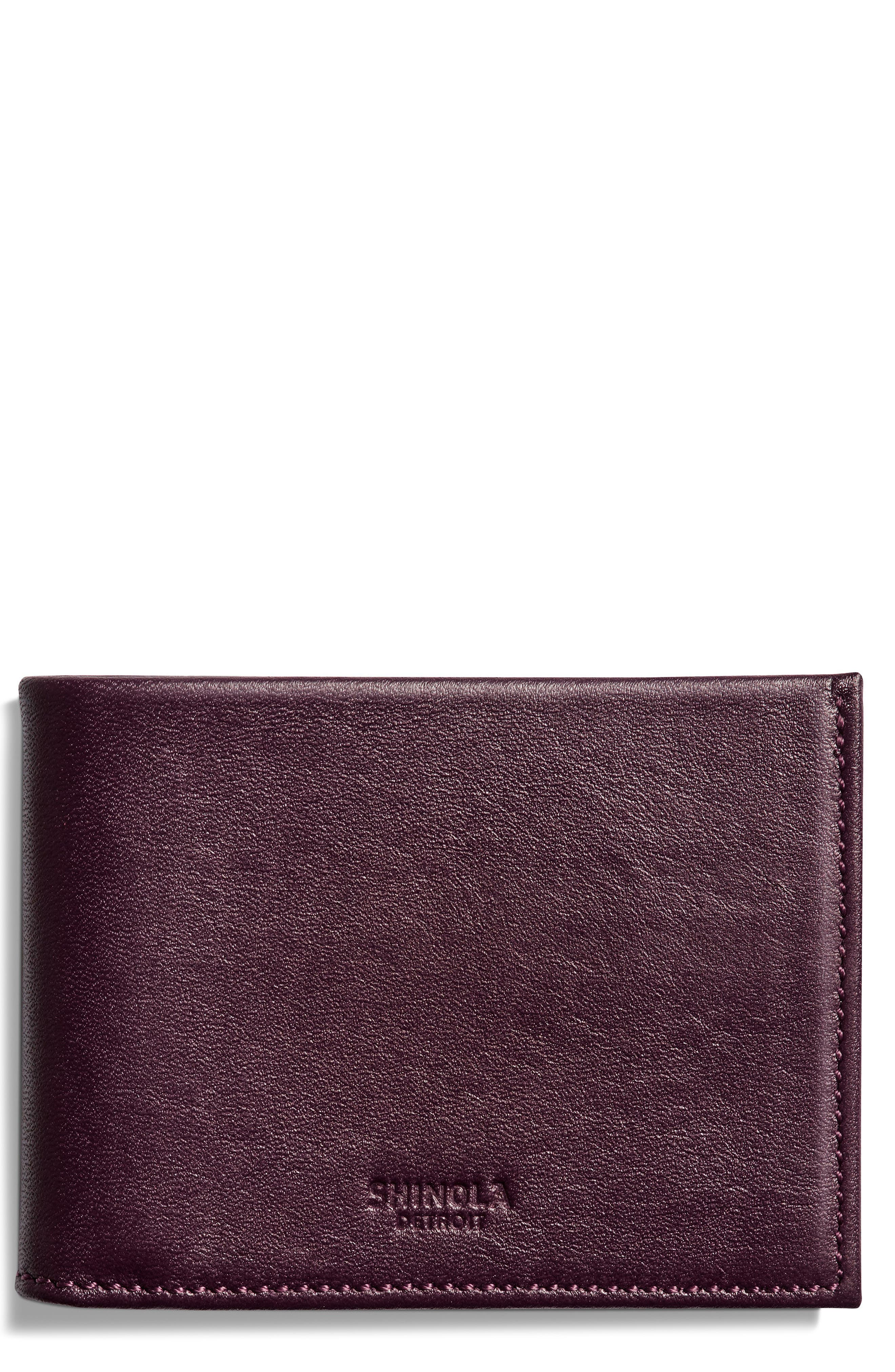Slim Bifold Leather Wallet,                         Main,                         color, Bourbon