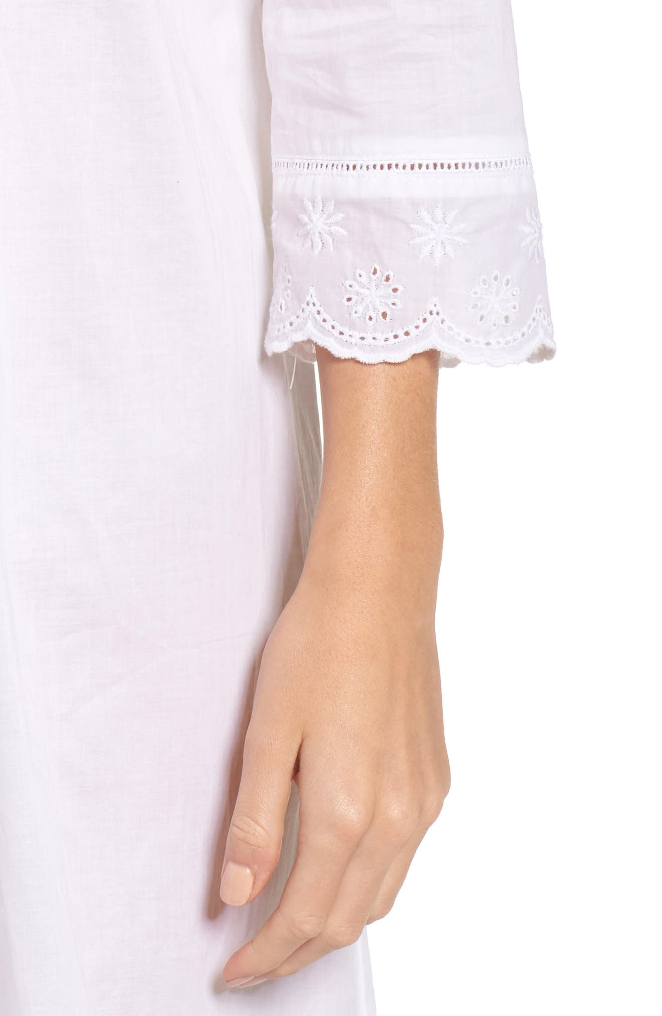 Eyelet Nightgown,                             Alternate thumbnail 5, color,                             White Floral