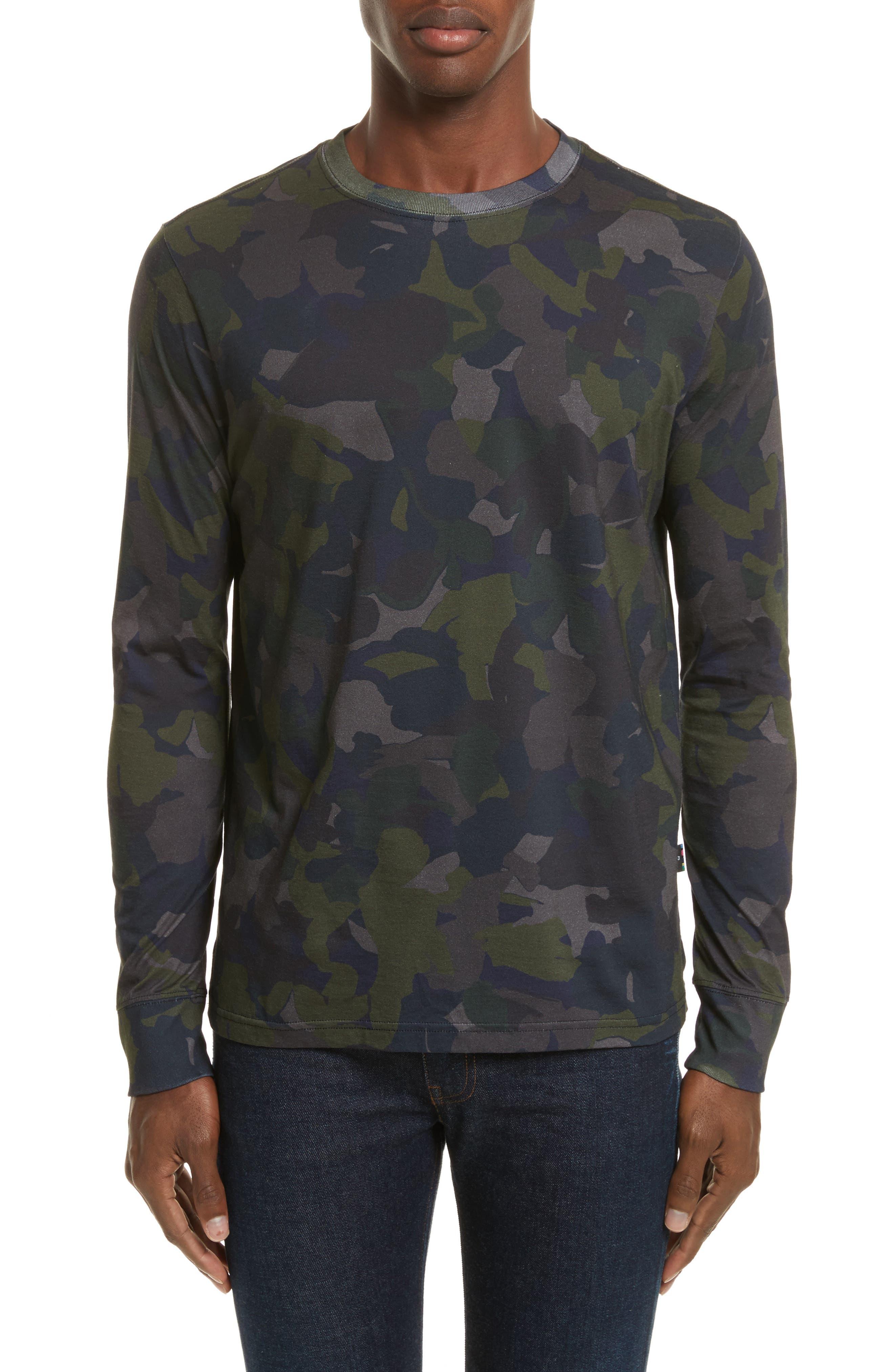 Camo Long Sleeve T-Shirt,                             Main thumbnail 1, color,                             Green