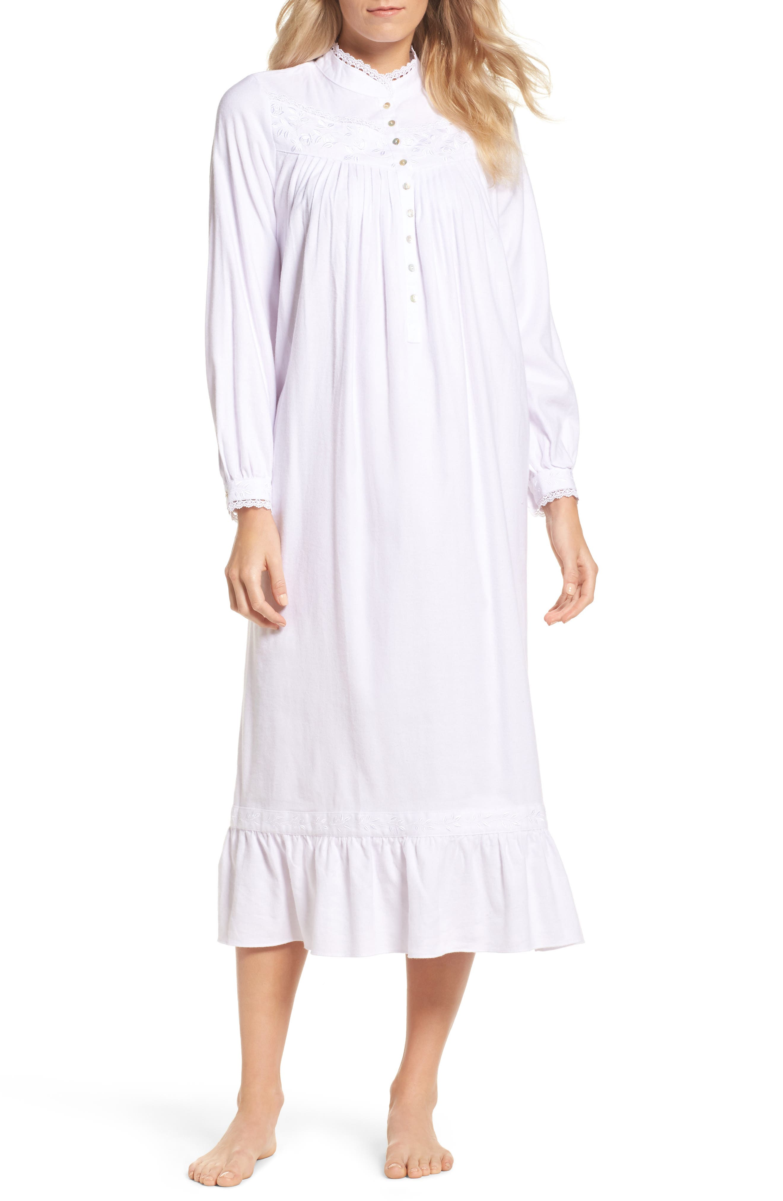 High Neck Cotton Nightgown,                         Main,                         color, White