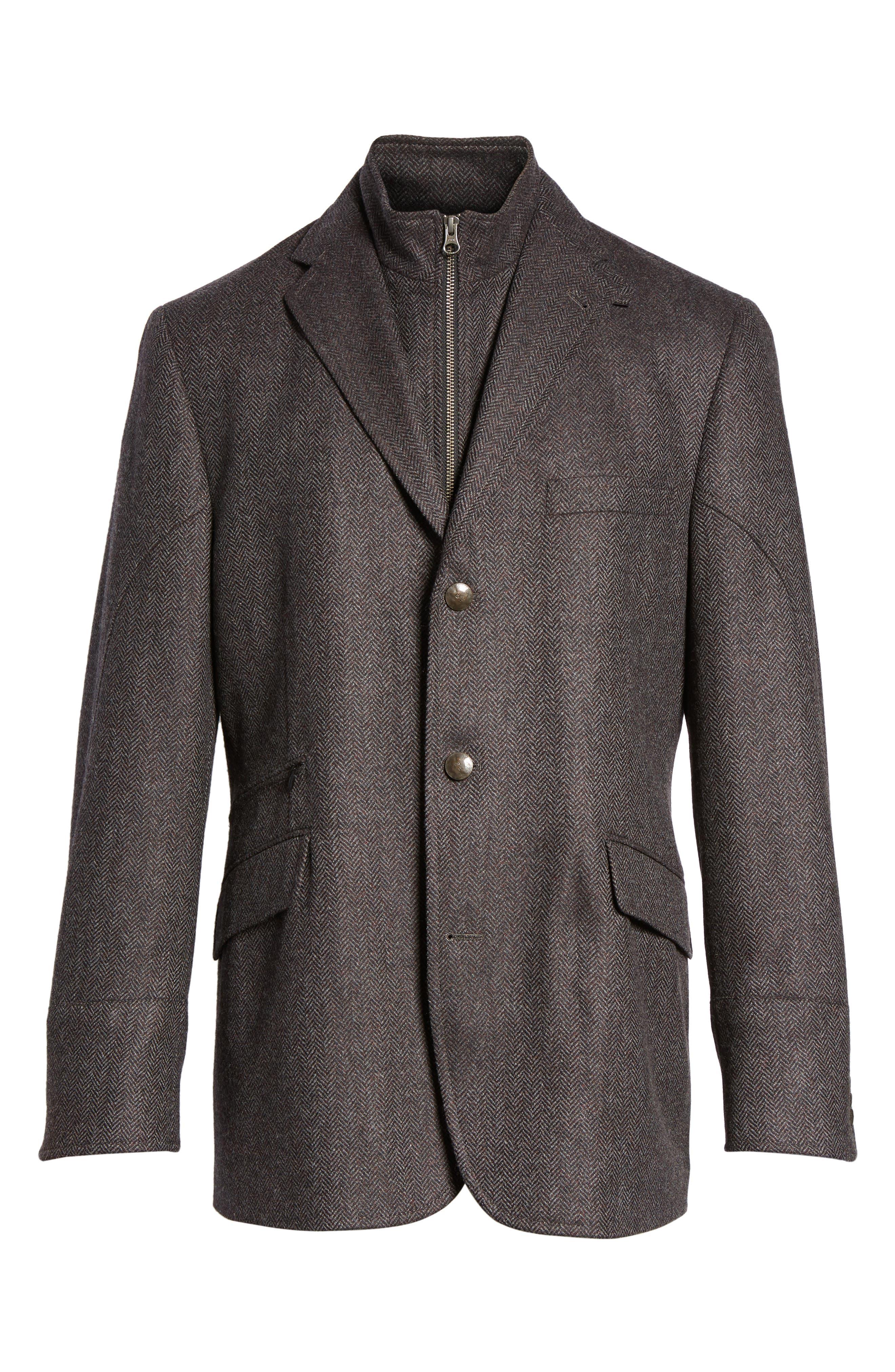 Ritchie Hybrid Classic Fit Wool & Cashmere Herringbone Sport Coat,                             Alternate thumbnail 6, color,                             Grey