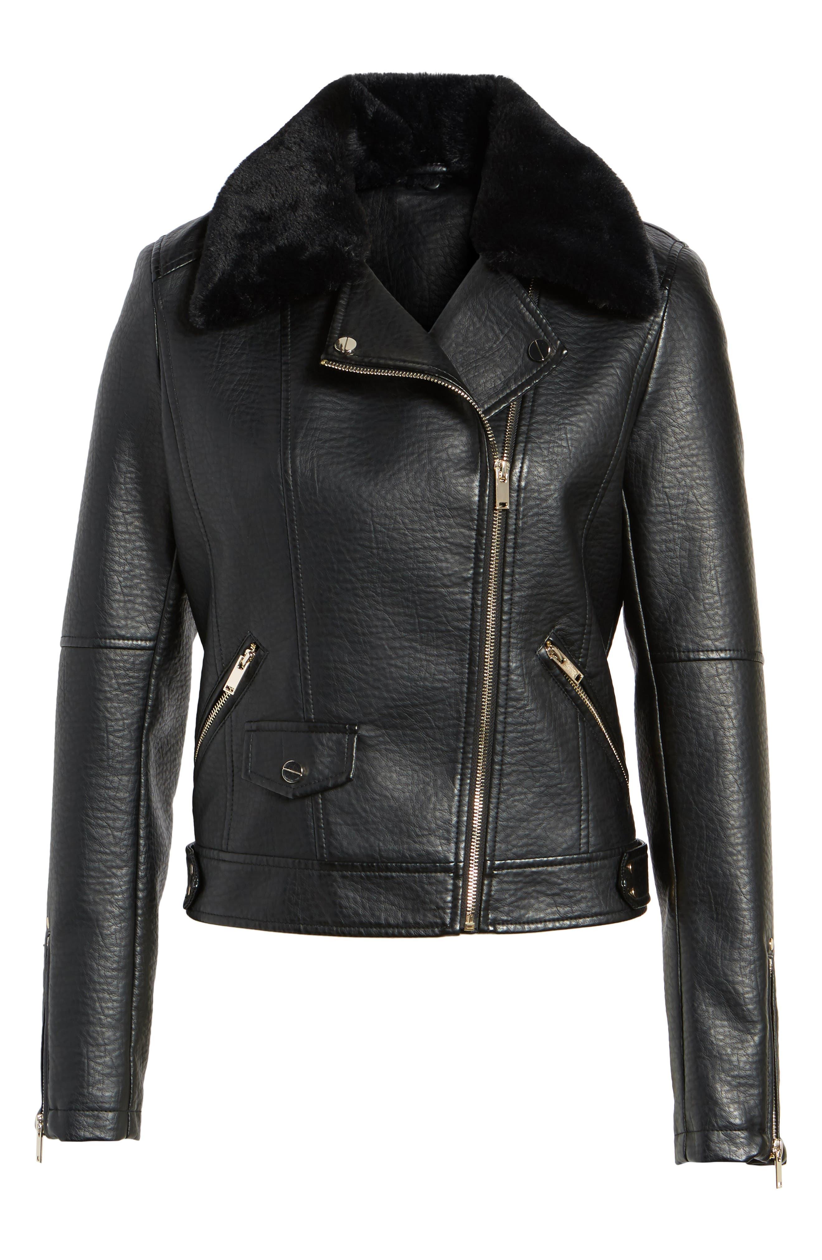 Textured Faux Leather Jacket with Removable Faux Fur Trim,                             Alternate thumbnail 6, color,                             Black