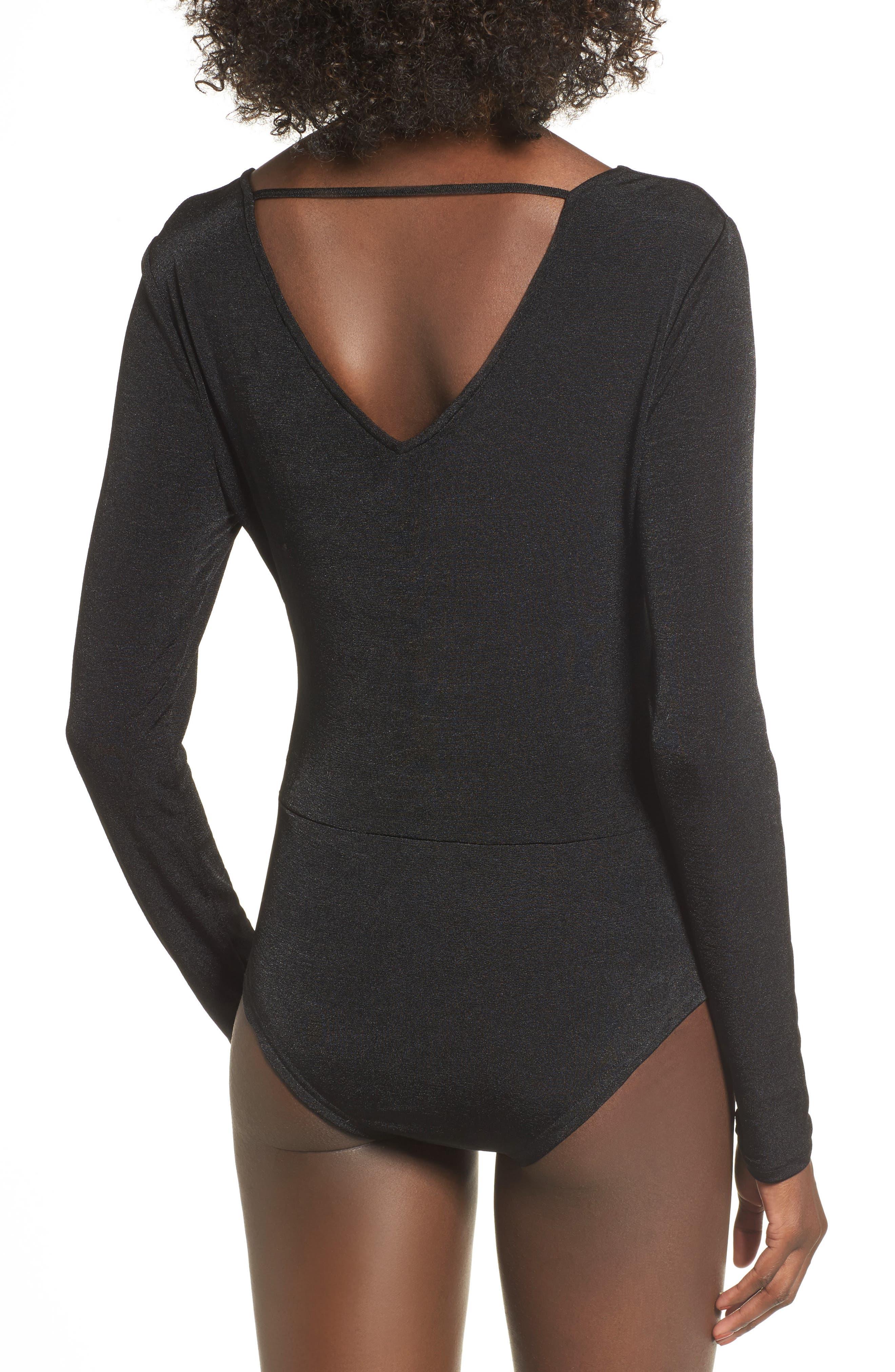 Surplice Bodysuit,                             Alternate thumbnail 2, color,                             Black