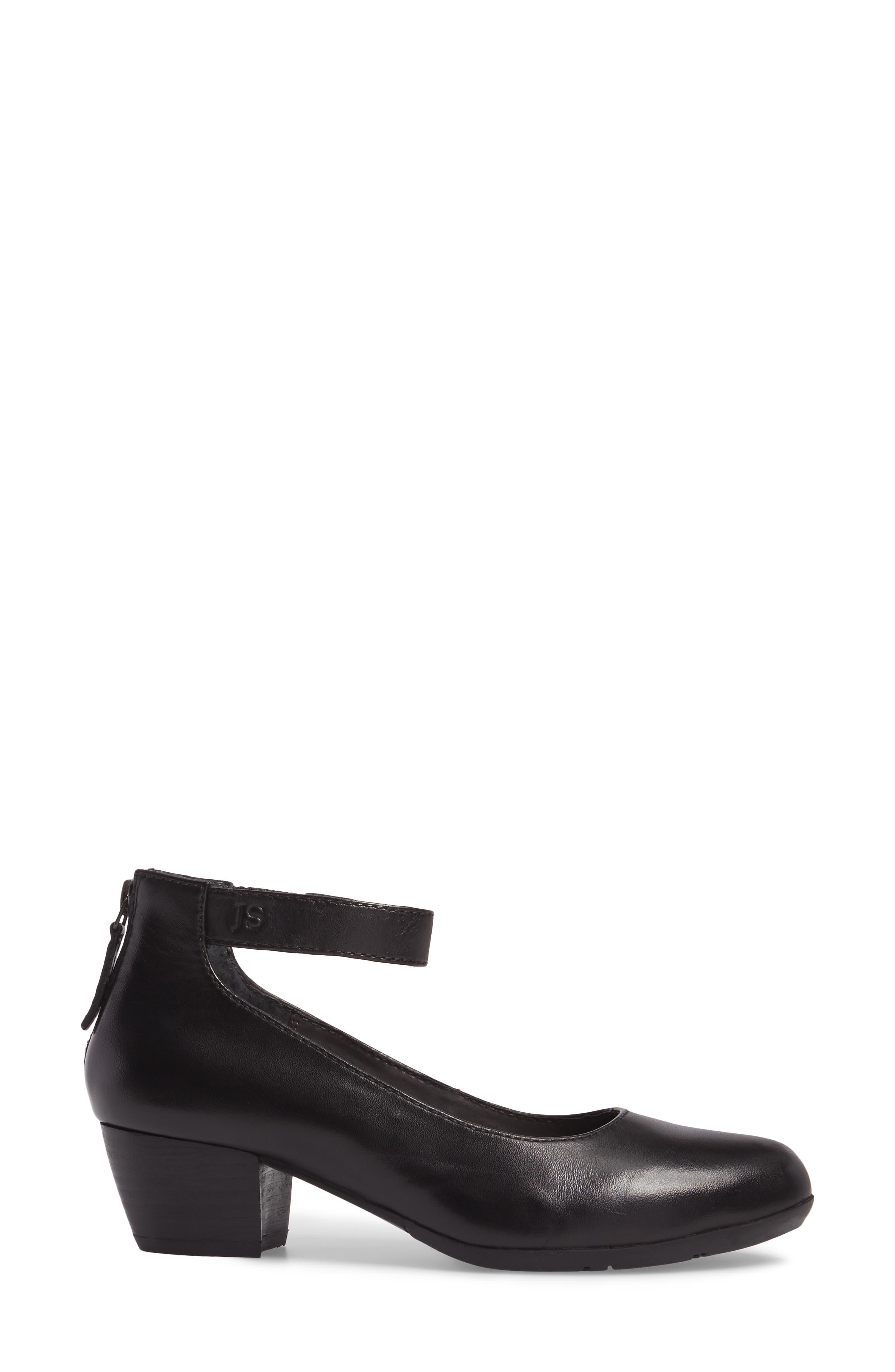Sue 09 Ankle Strap Pump,                             Alternate thumbnail 3, color,                             Black Leather