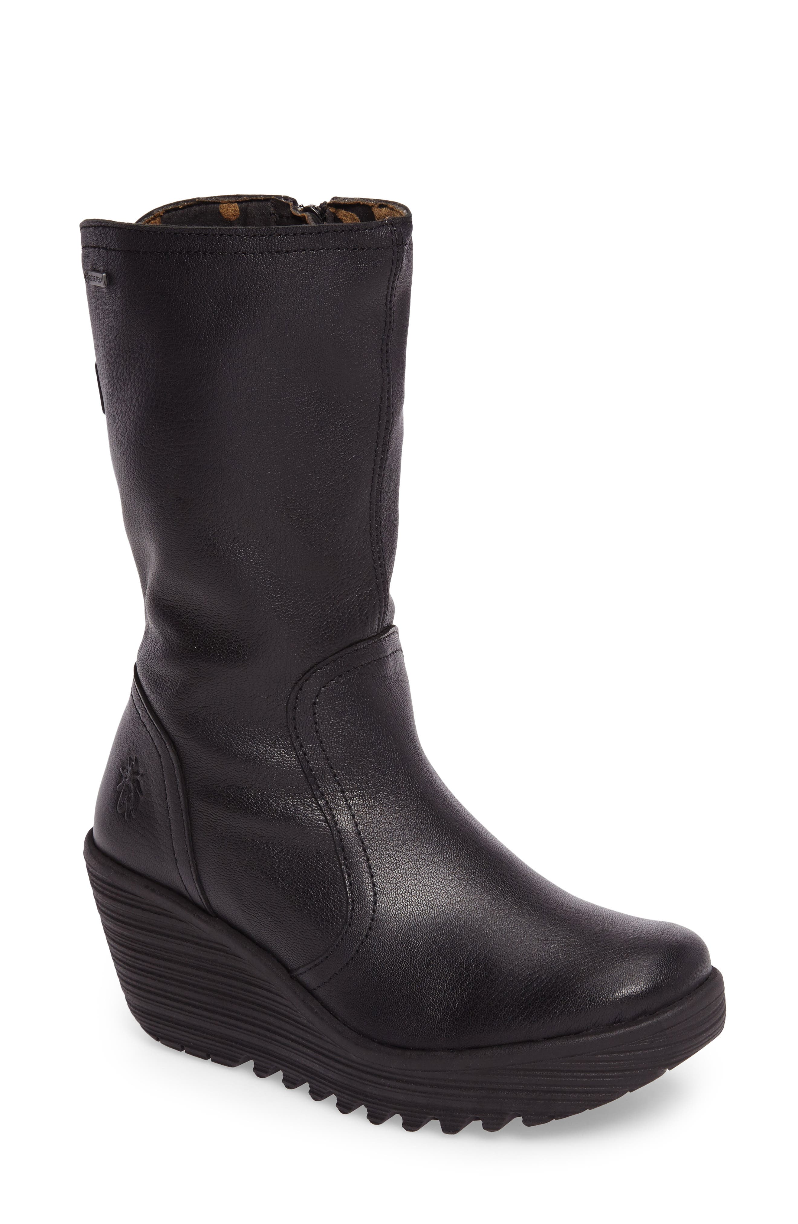 Yups Waterproof Gore-Tex<sup>®</sup> Wedge Boot,                             Main thumbnail 1, color,                             Black Mousse Leather