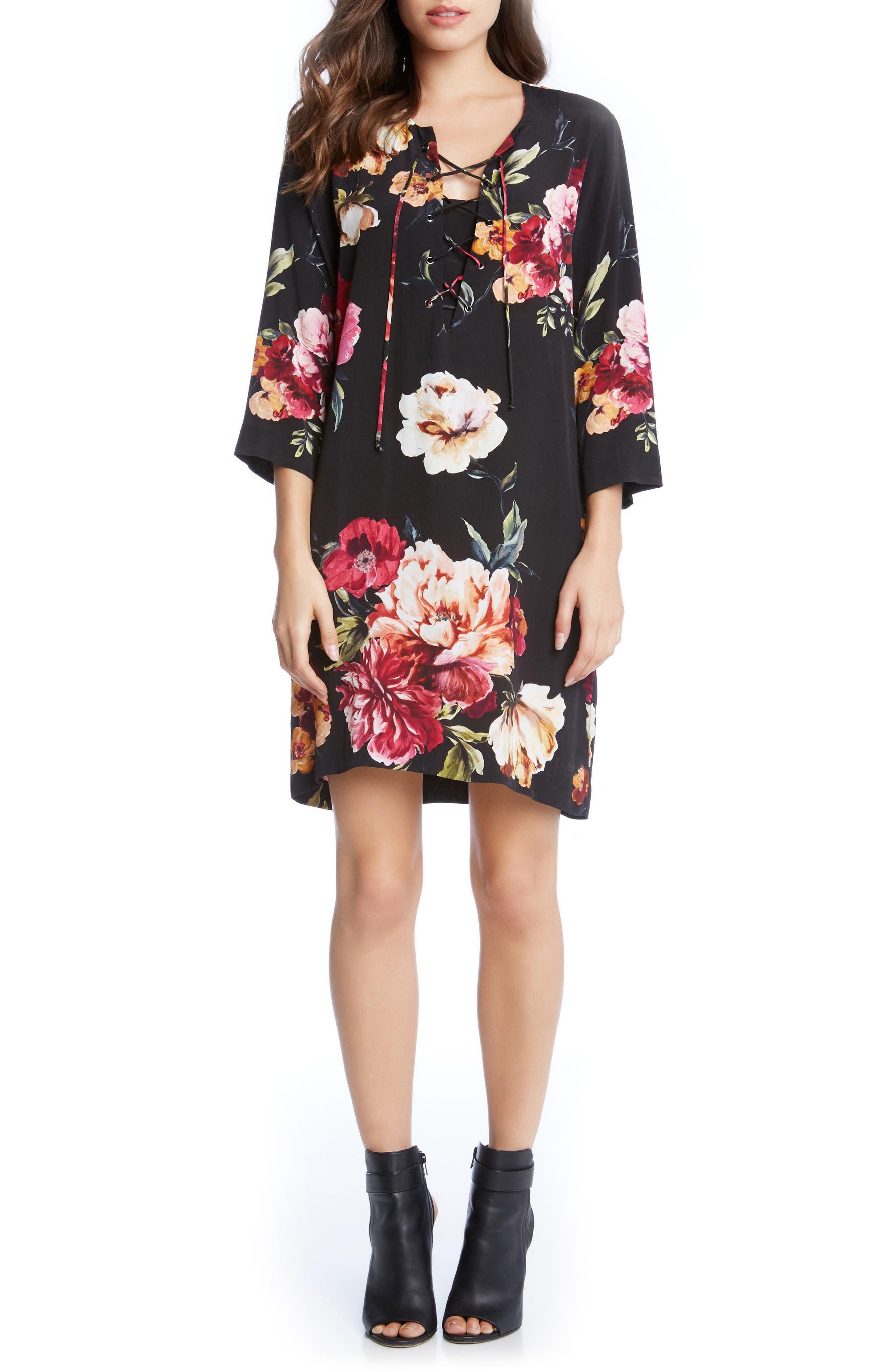 Floral Lace-Up Shift Dress,                         Main,                         color, Print
