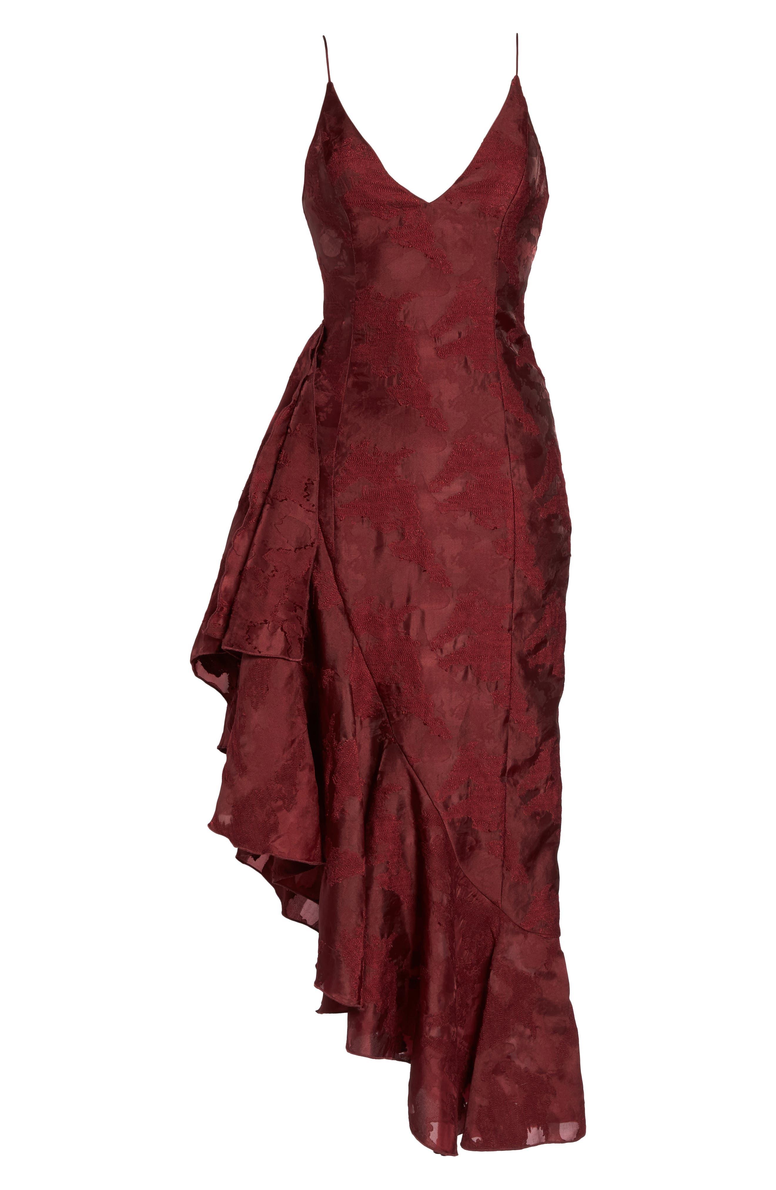 Ember Burnout Asymmetrical Ruffle Dress,                             Alternate thumbnail 7, color,                             Ruby