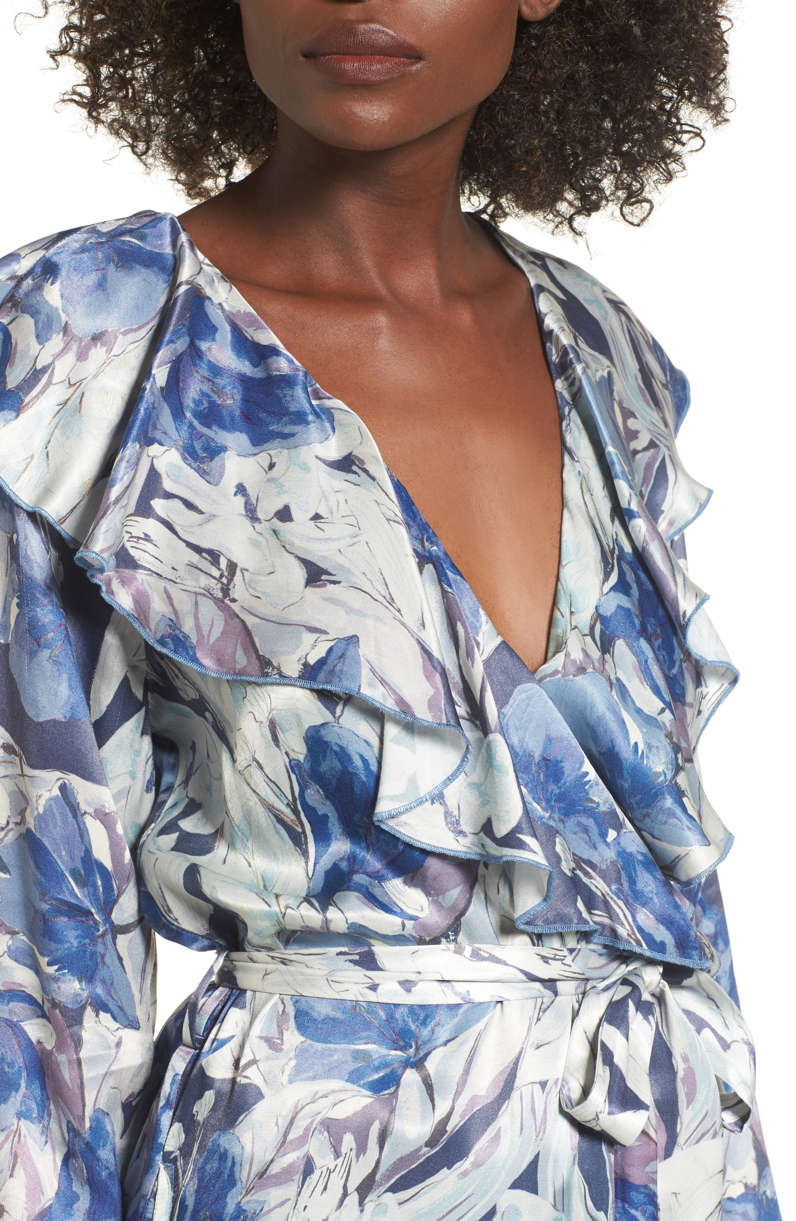 Drucilla Floral Print Duster,                             Alternate thumbnail 4, color,                             Midnight Floral