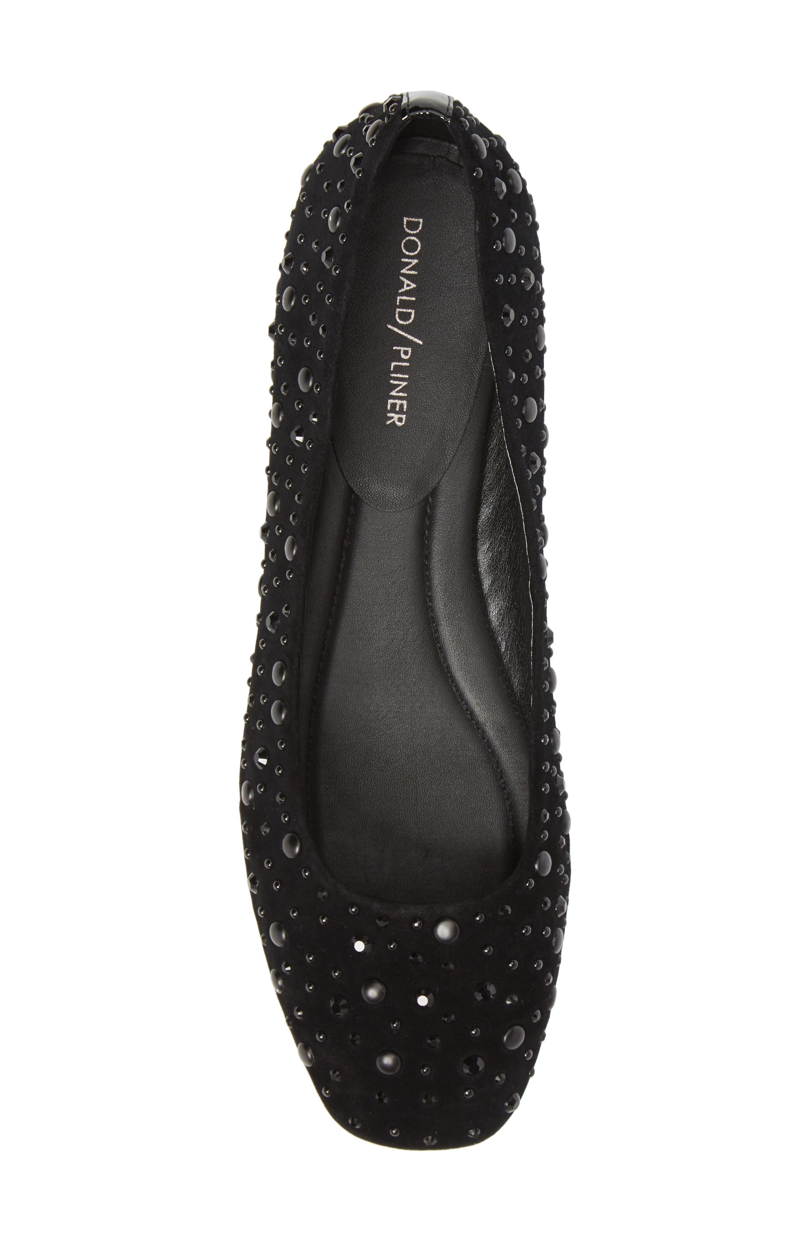 Dora Skimmer Flat,                             Alternate thumbnail 5, color,                             Black Leather