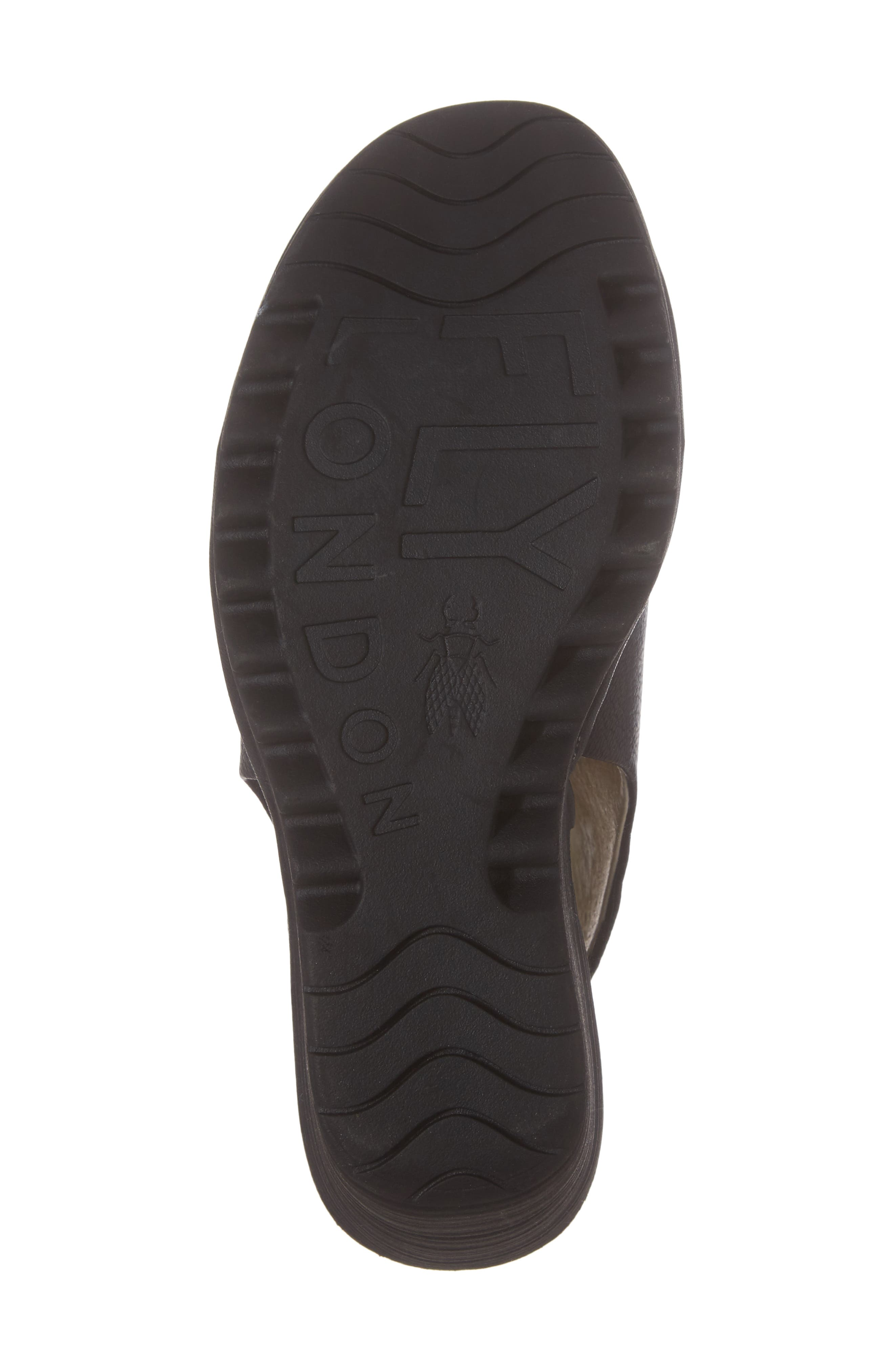 Yuzu Wedge Sandal,                             Alternate thumbnail 6, color,                             Black Mousse Leather
