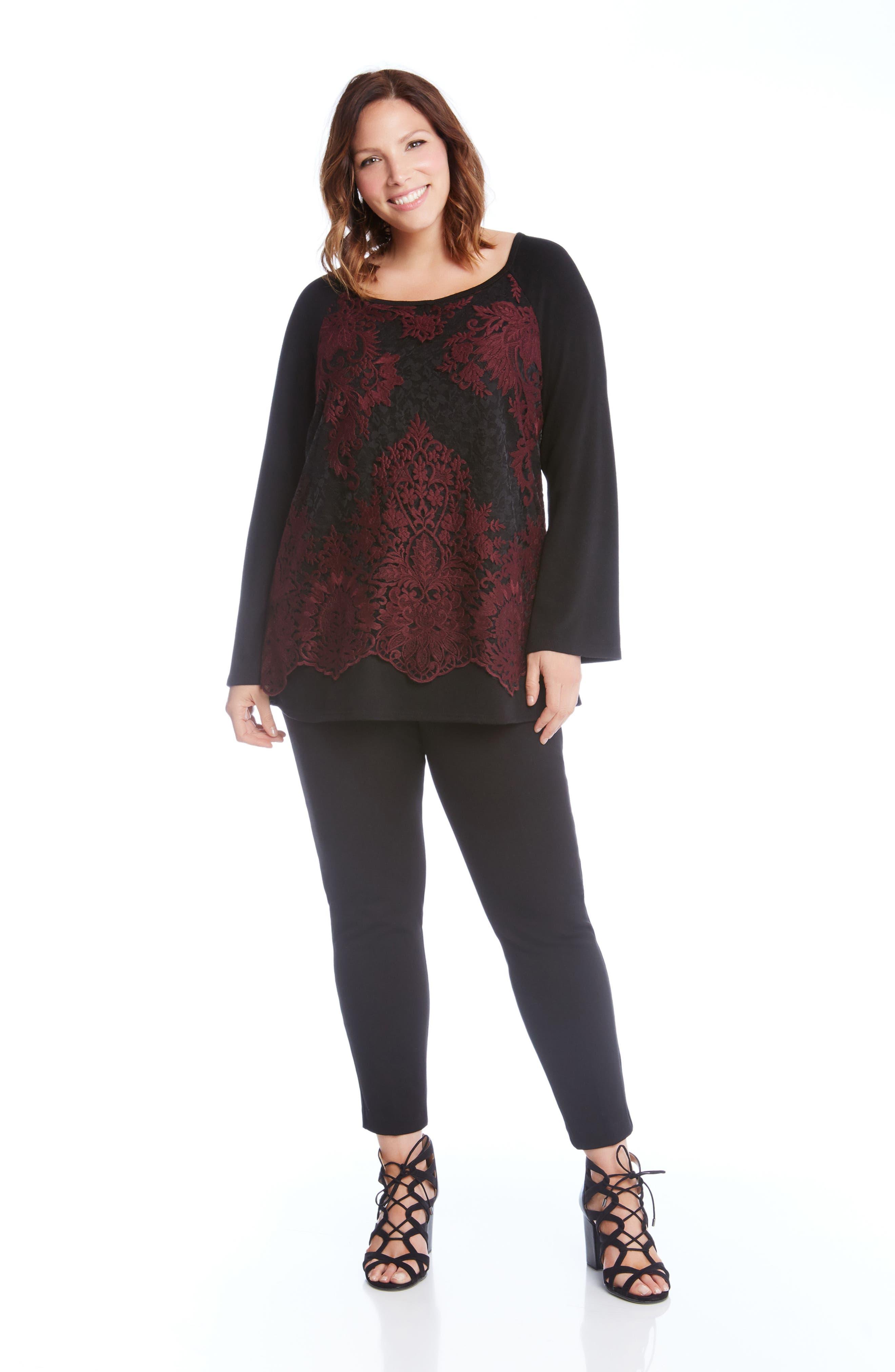 Alternate Image 2  - Karen Kane Lace Overlay Jersey Top (Plus Size)