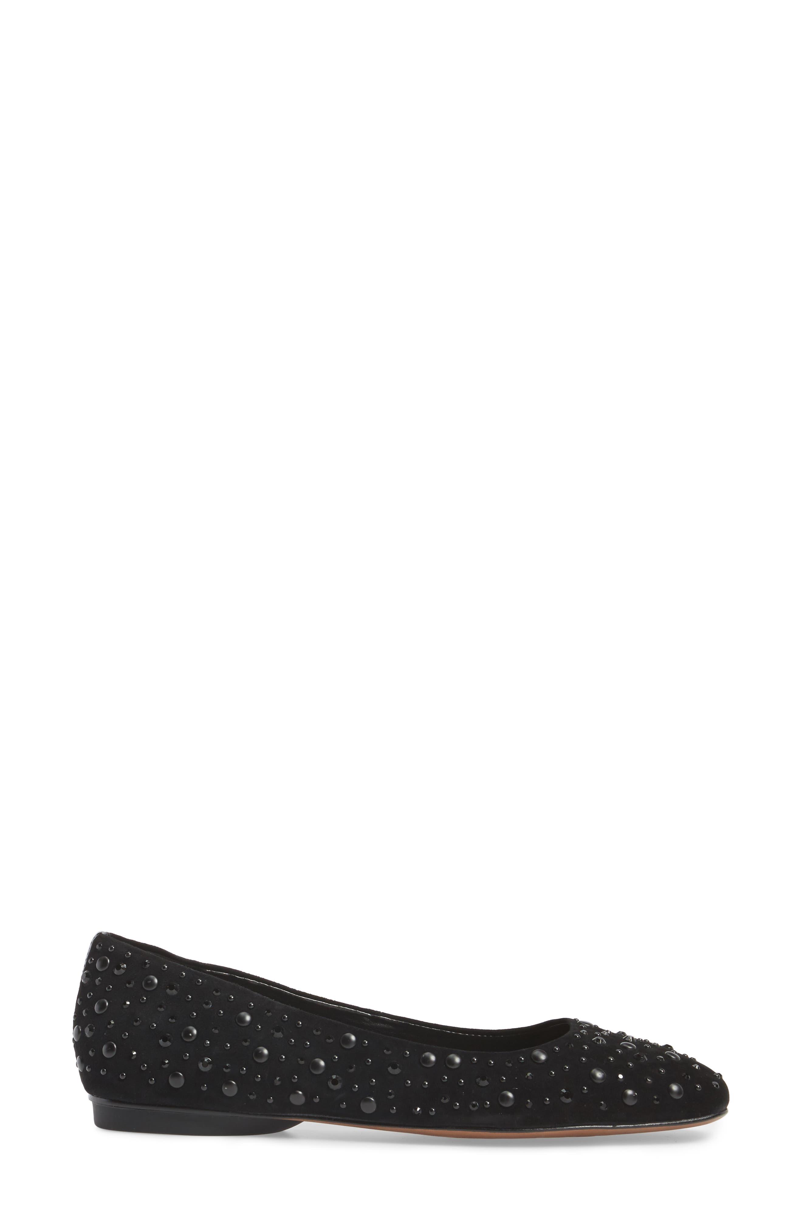 Dora Skimmer Flat,                             Alternate thumbnail 3, color,                             Black Leather