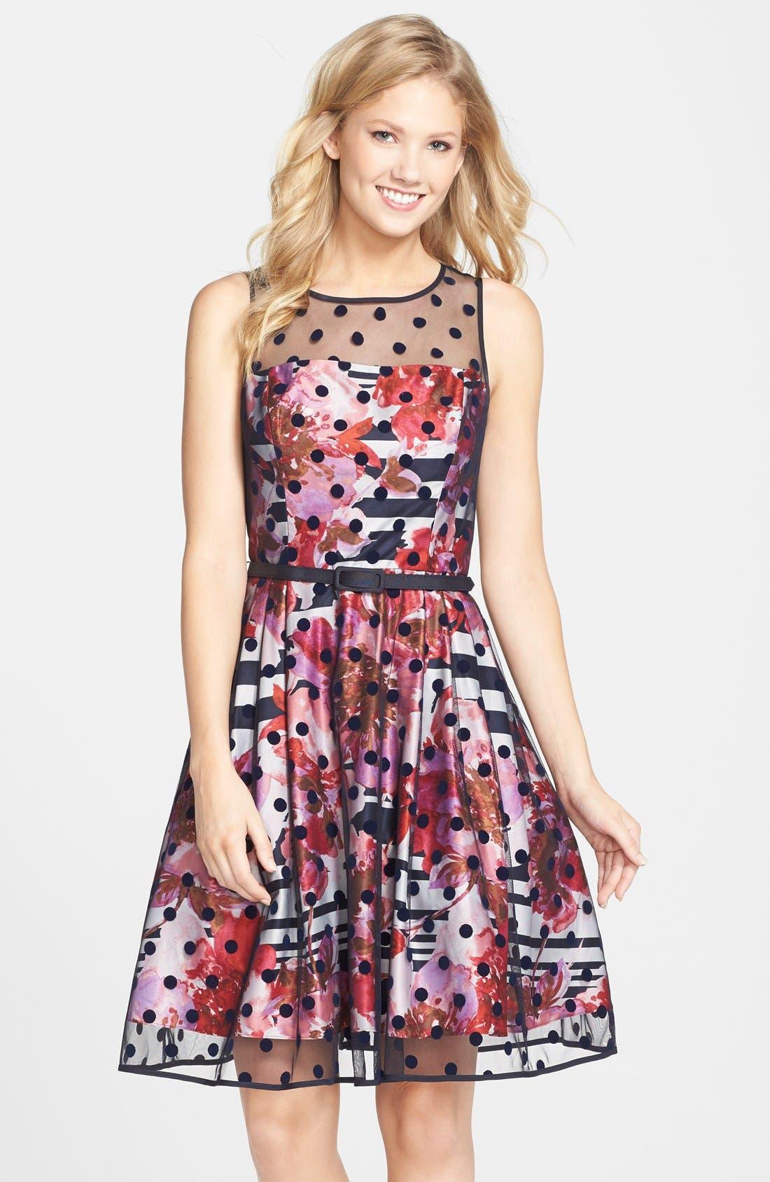 Main Image - Eliza J Belted Print Mixed Media Fit & Flare Dress