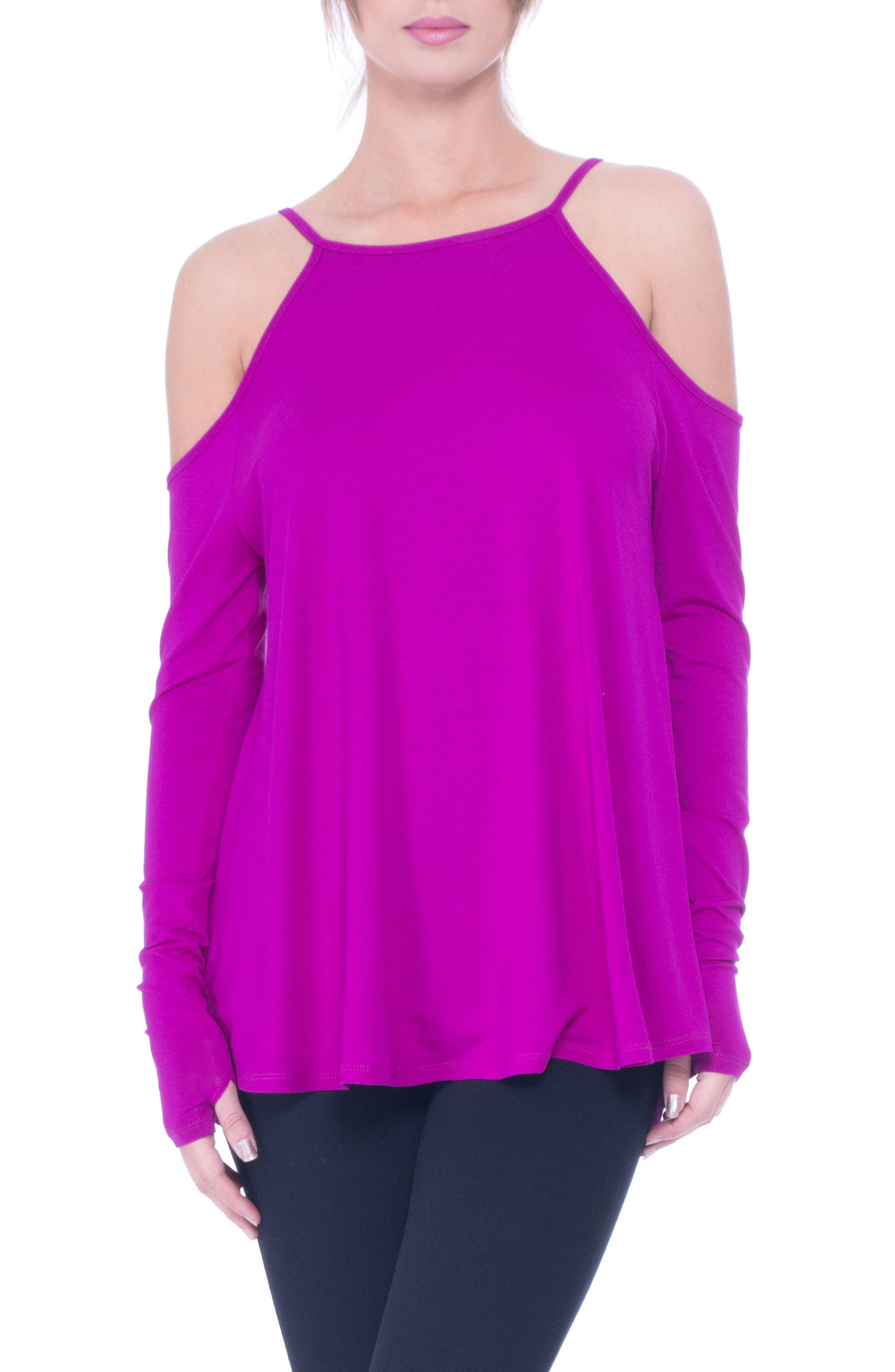 Lucy Strappy Cold Shoulder Maternity Top,                             Main thumbnail 1, color,                             Boysenberry