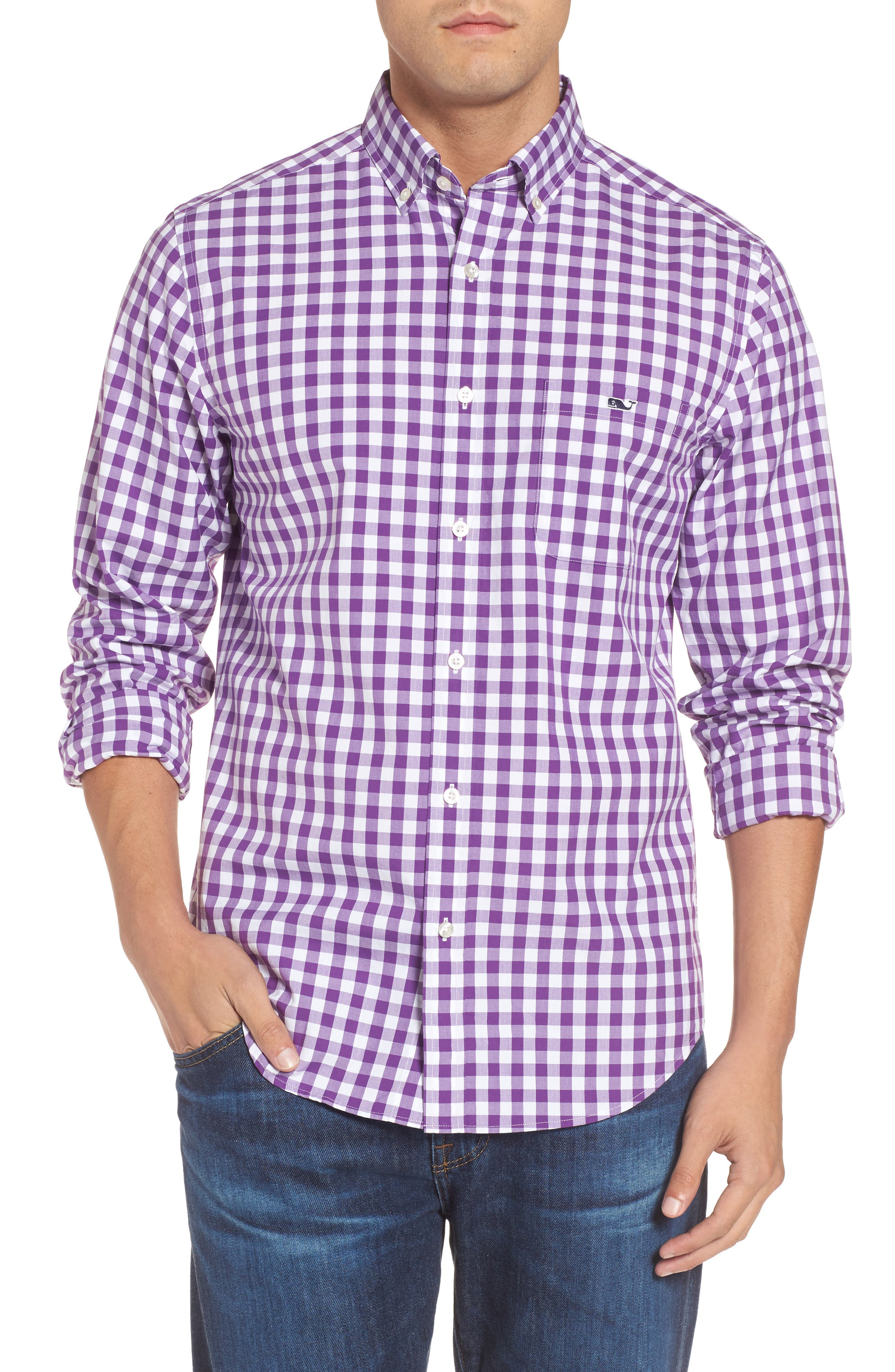 Classic Fit Tucker Garter Gingham Sport Shirt,                         Main,                         color, Snapdragon