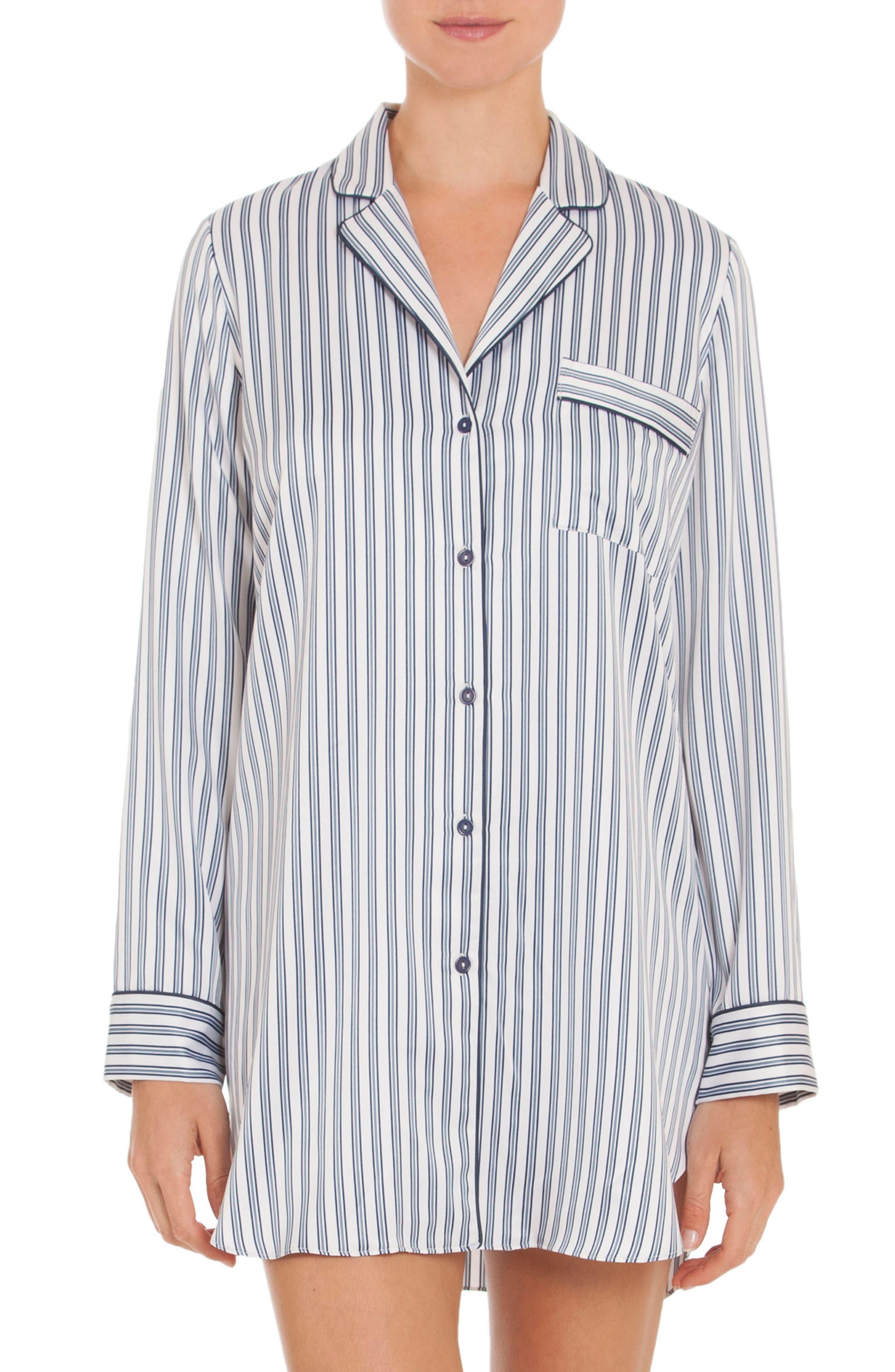 Nightshirt,                         Main,                         color, Ivory/ Blue Pin Stripe