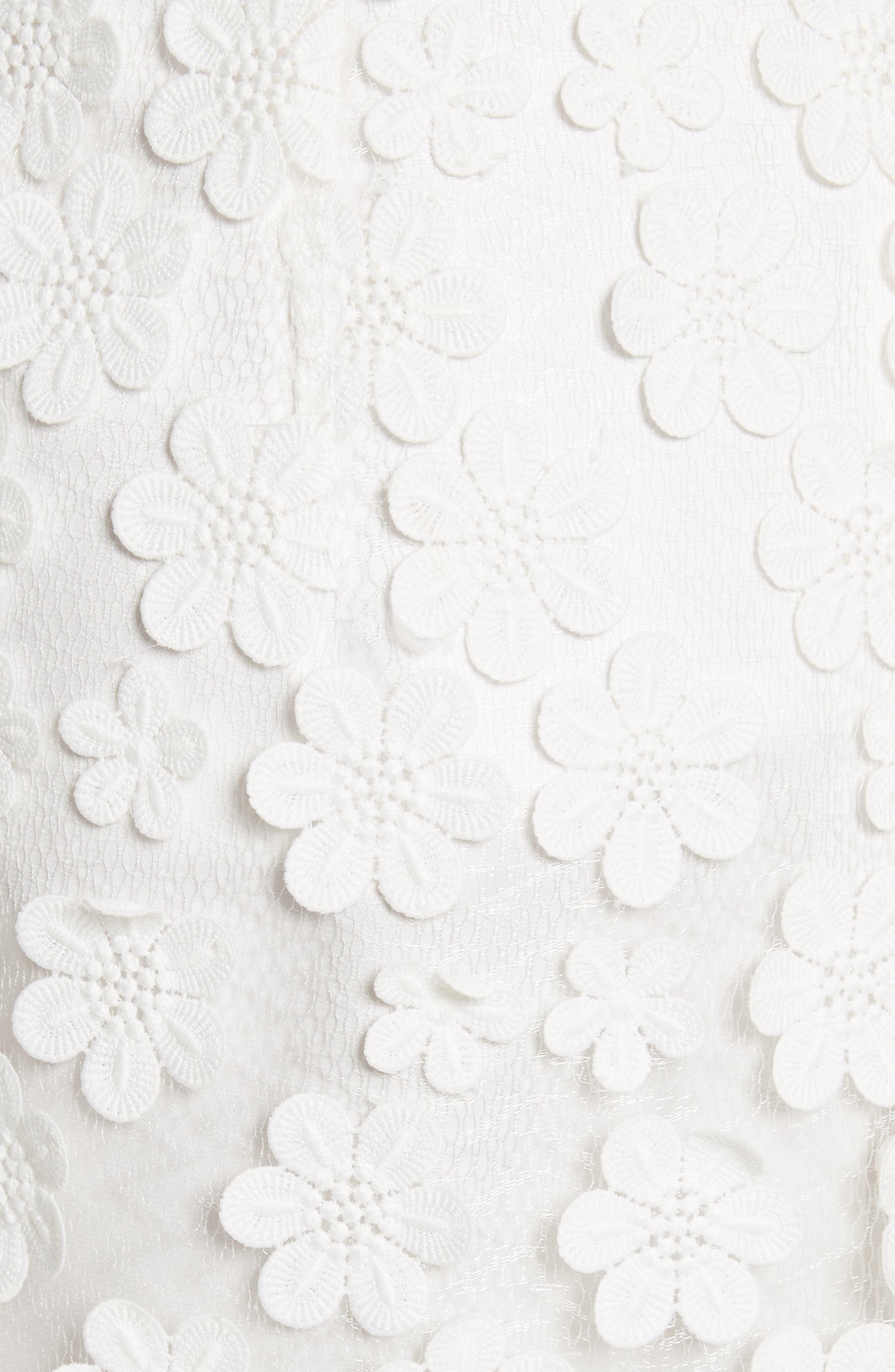 Floral Appliqué Skirt,                             Alternate thumbnail 5, color,                             White